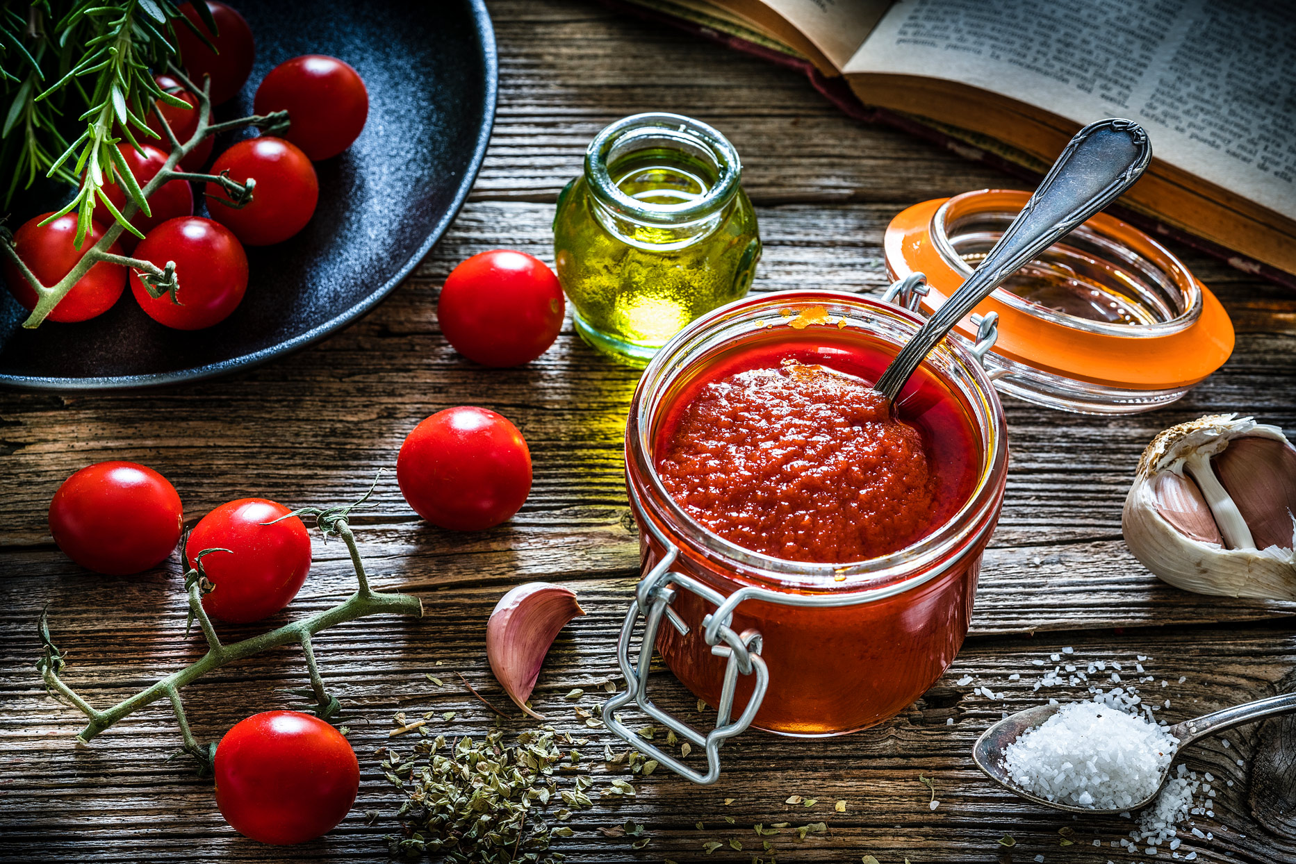 homemade tomato sauce in a glass jar