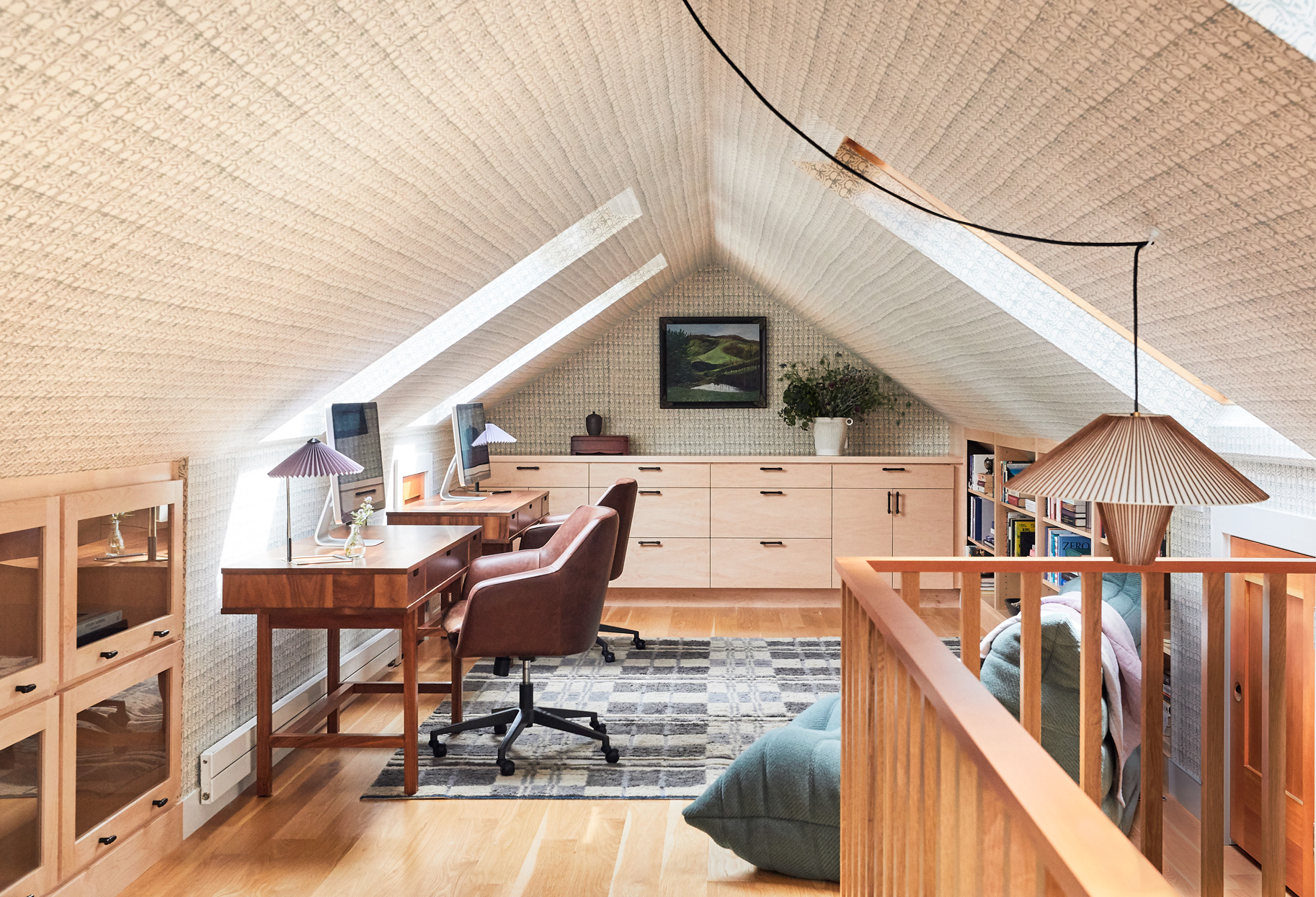 attic home office matching desks