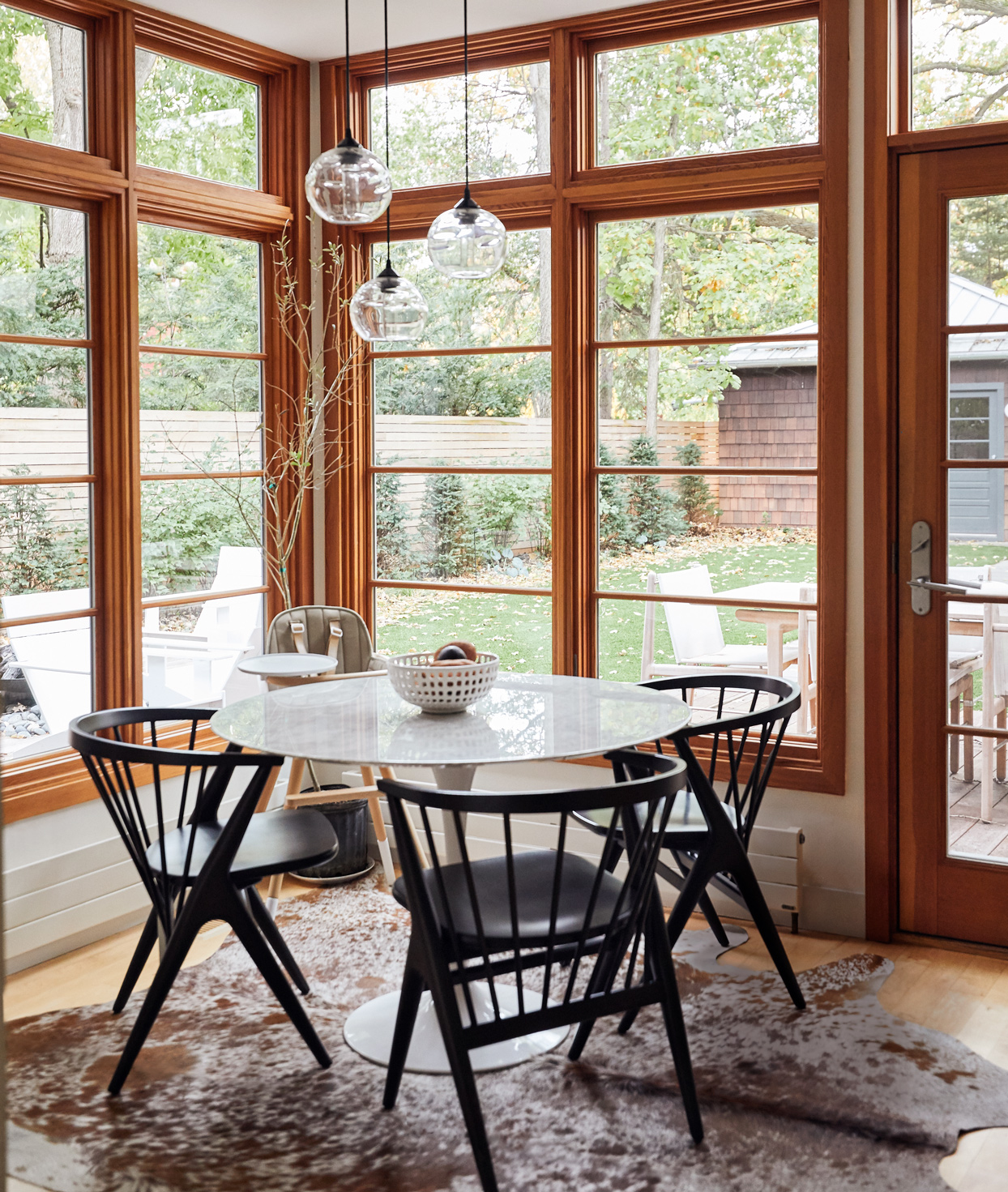 dining room large windows round table