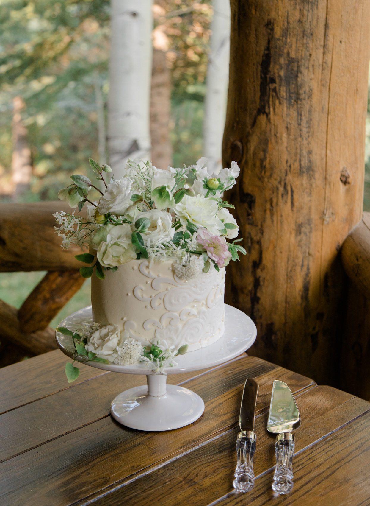 small wedding cake with flowers