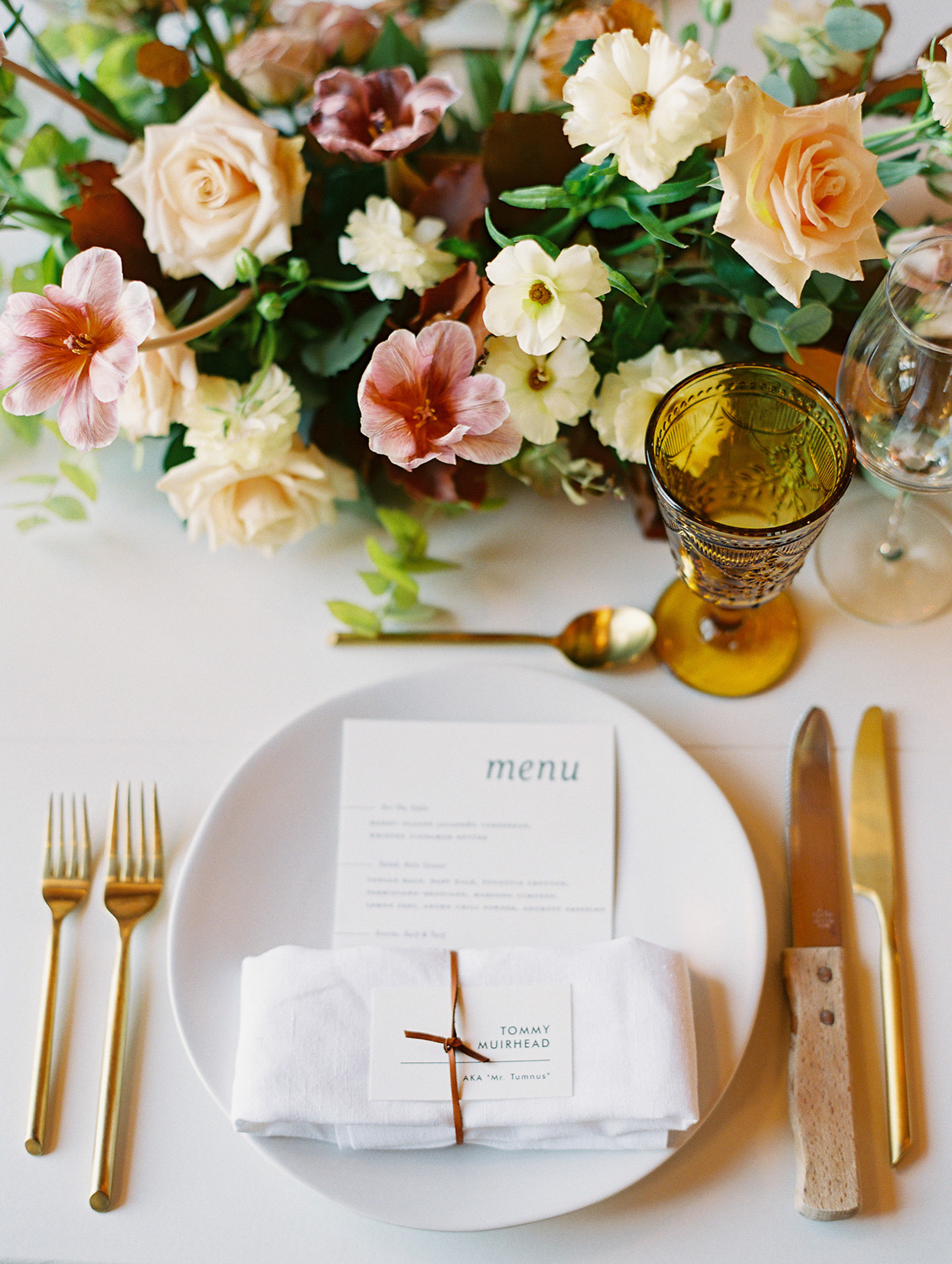 dinner menu with table setting and place card