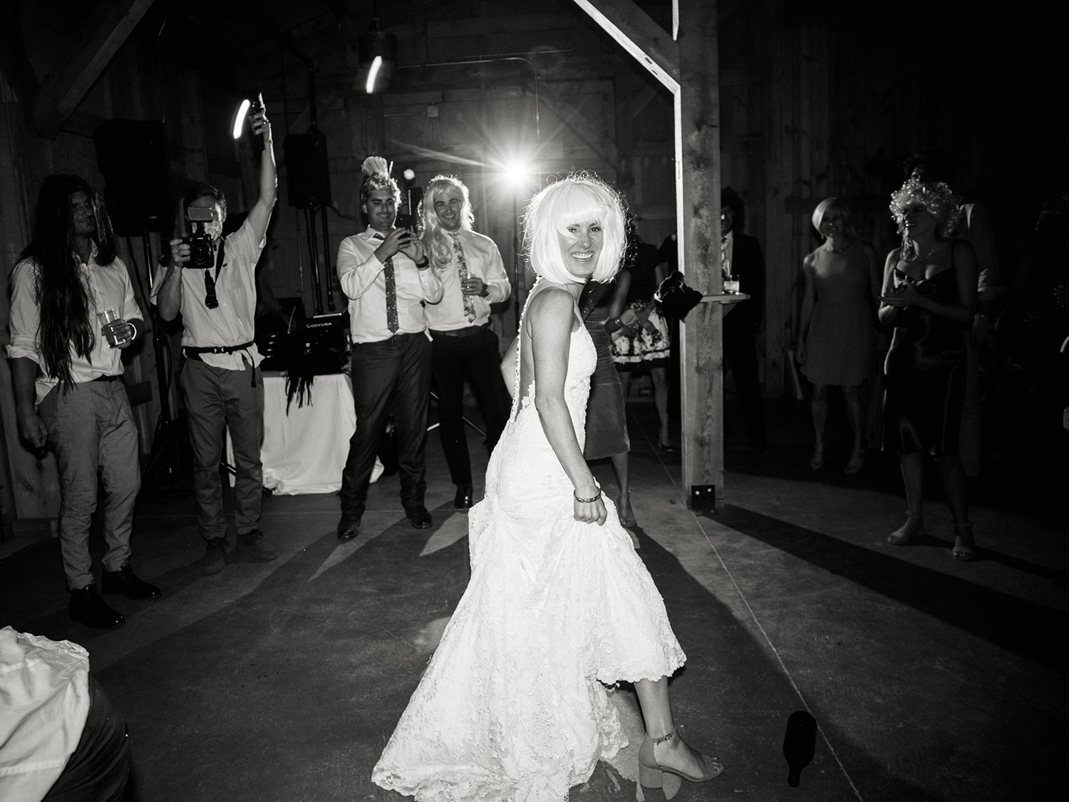 bride on dance floor in wig