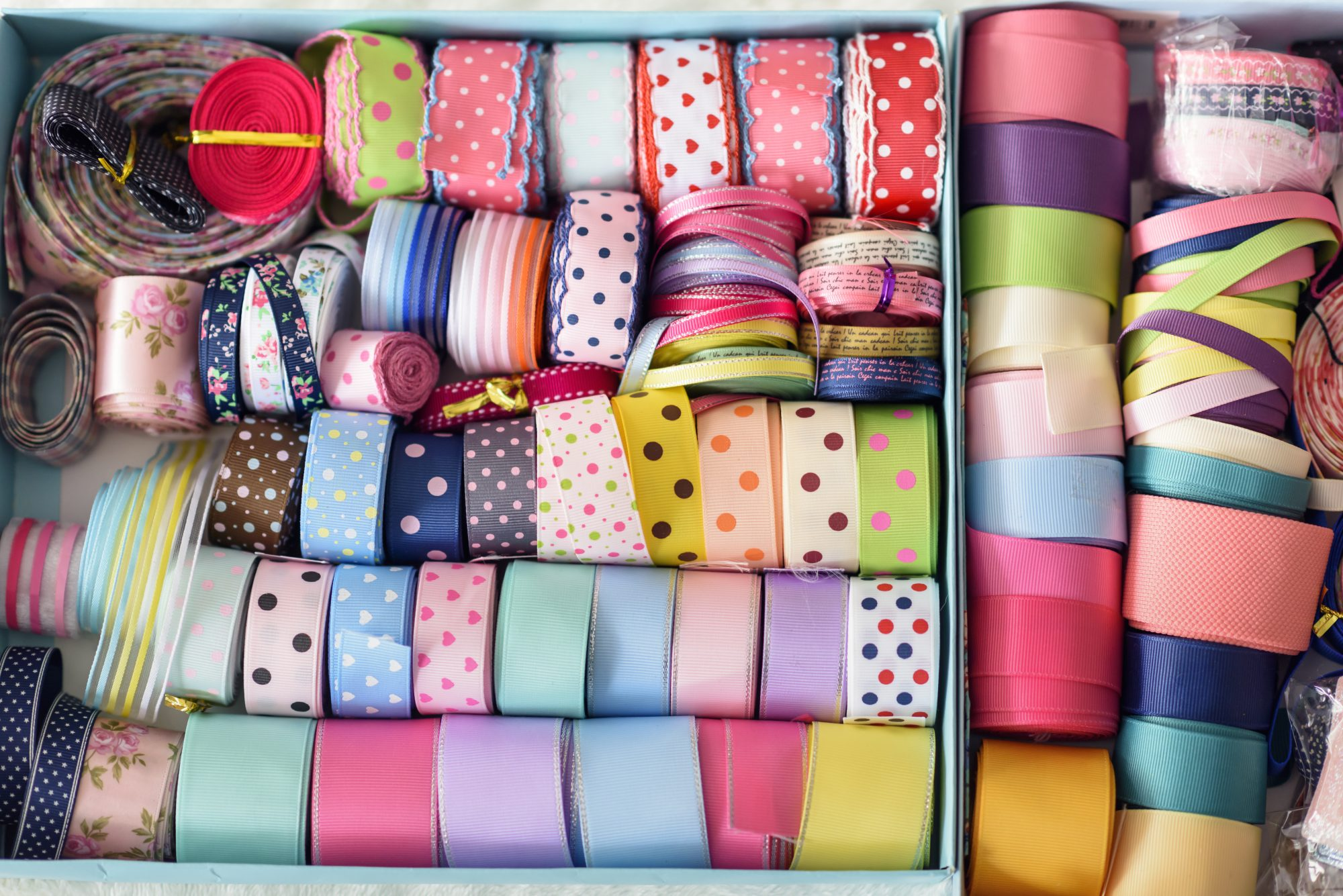 assortment of ribbons in box