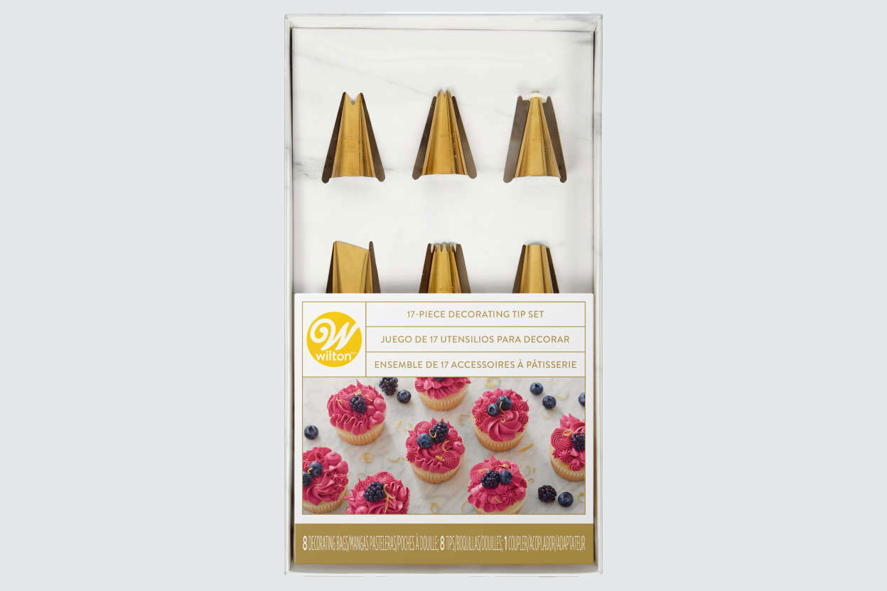 Navy Blue and Gold Piping Tips and Cake Decorating Supplies Set, 17-Piece
