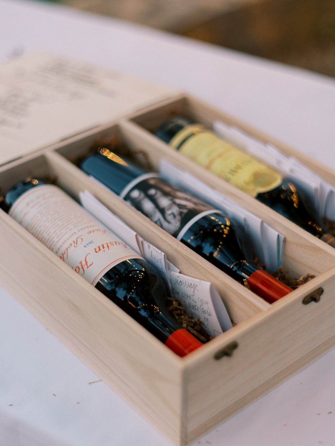 wooden box of wines