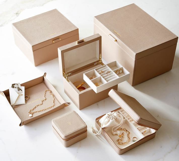 Pottery Barn Quinn Leather Jewelry Storage Collection