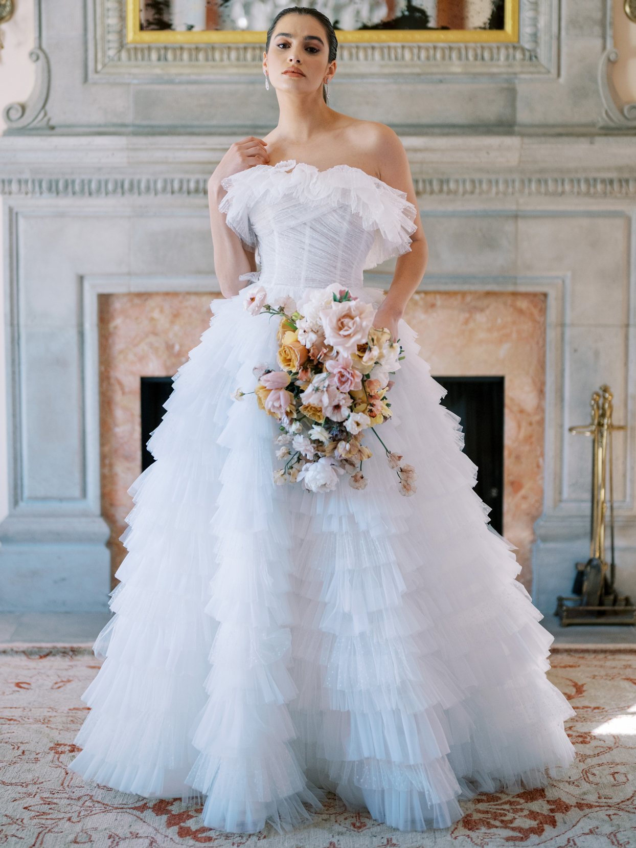 anne barge tulle layered wedding dress spring 2022