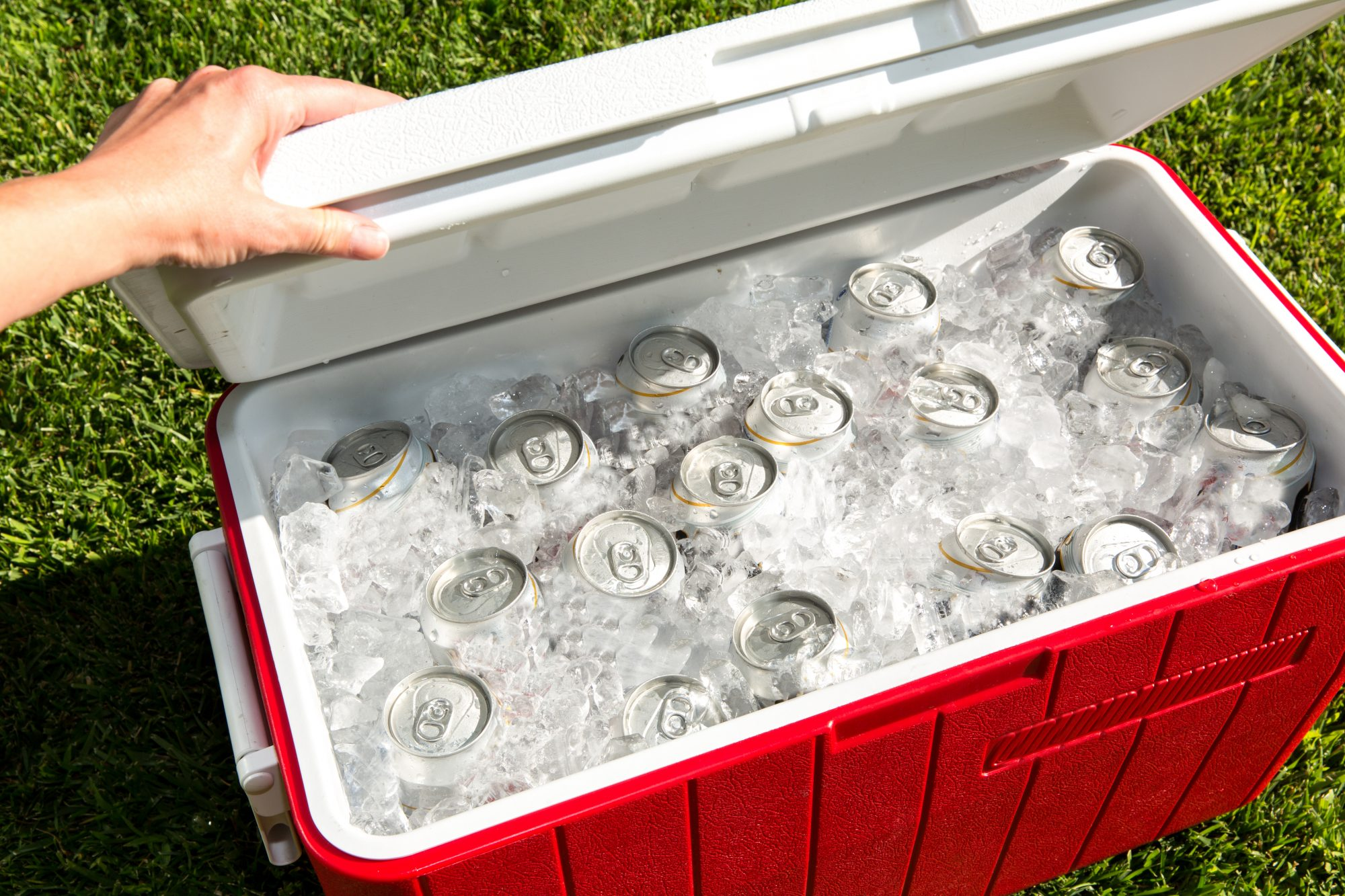 red cooler outside on grass filled with ice and cans