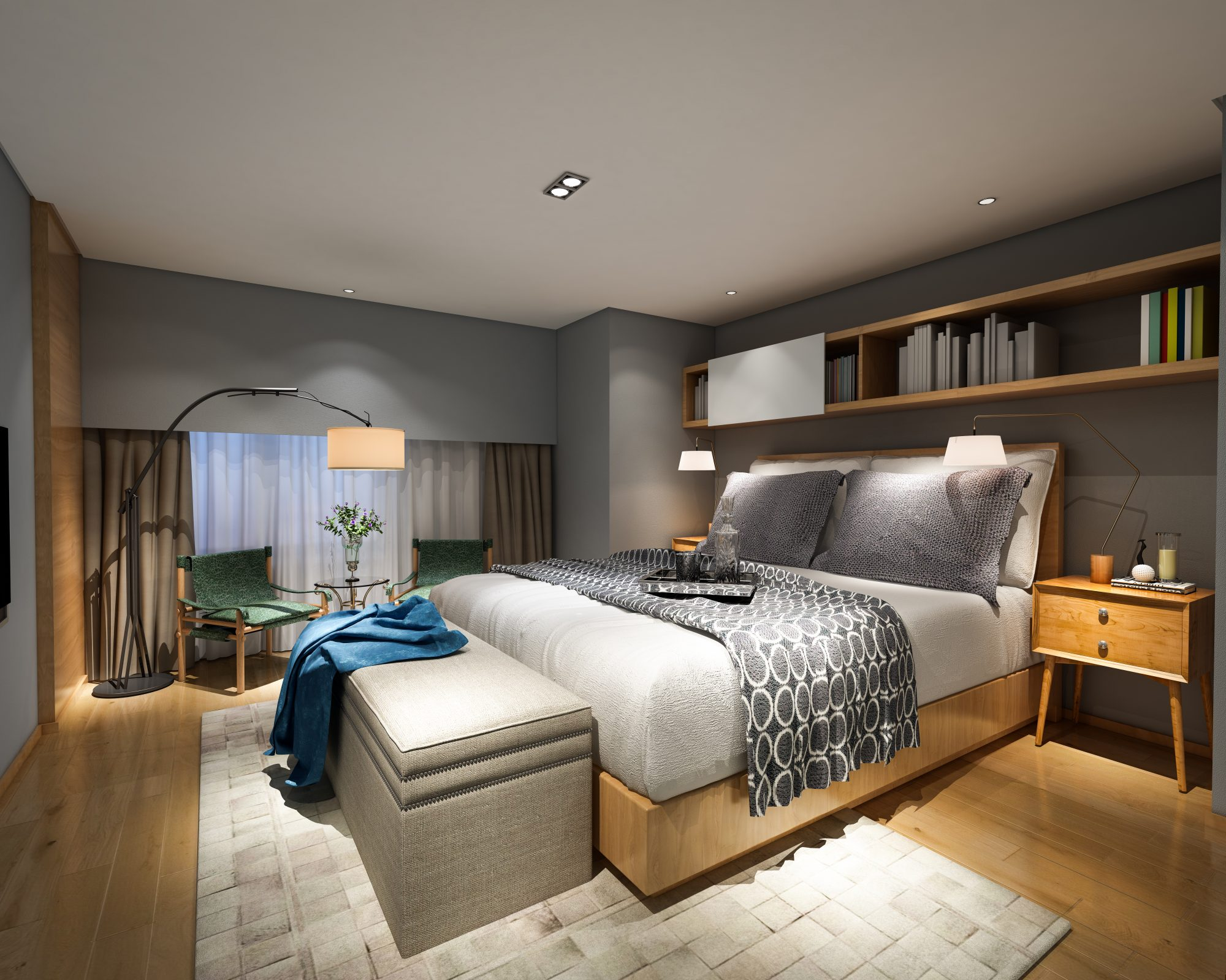 modern bedroom with storage bench