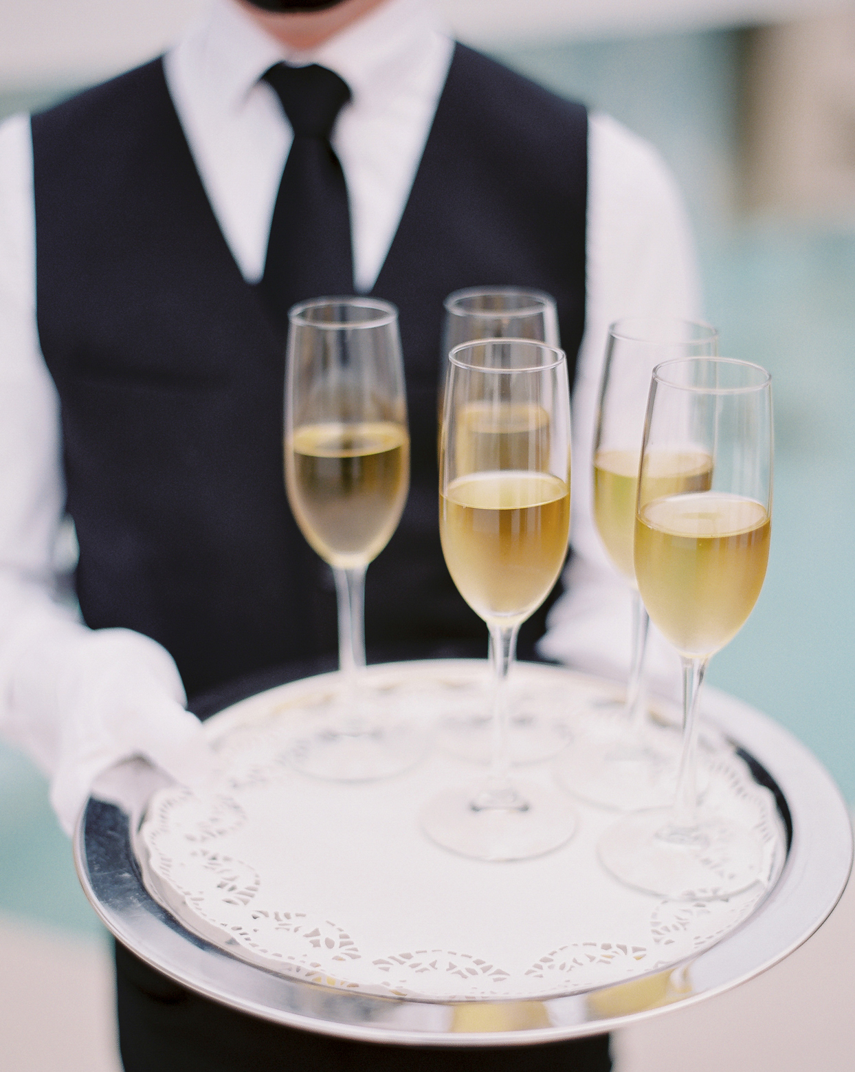 wedding reception champagne served on silver tray