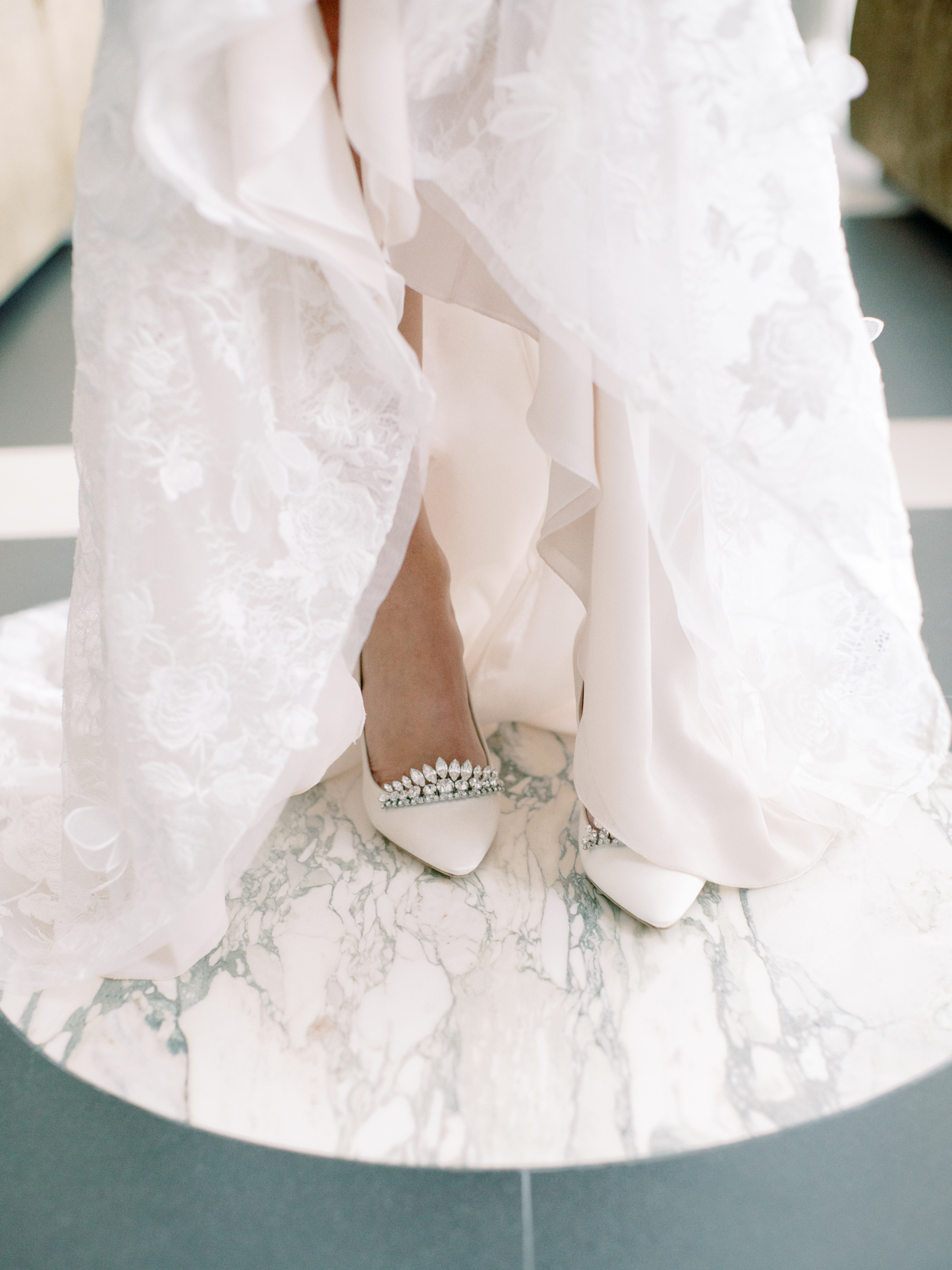 bridal wedding shoes white with crystals