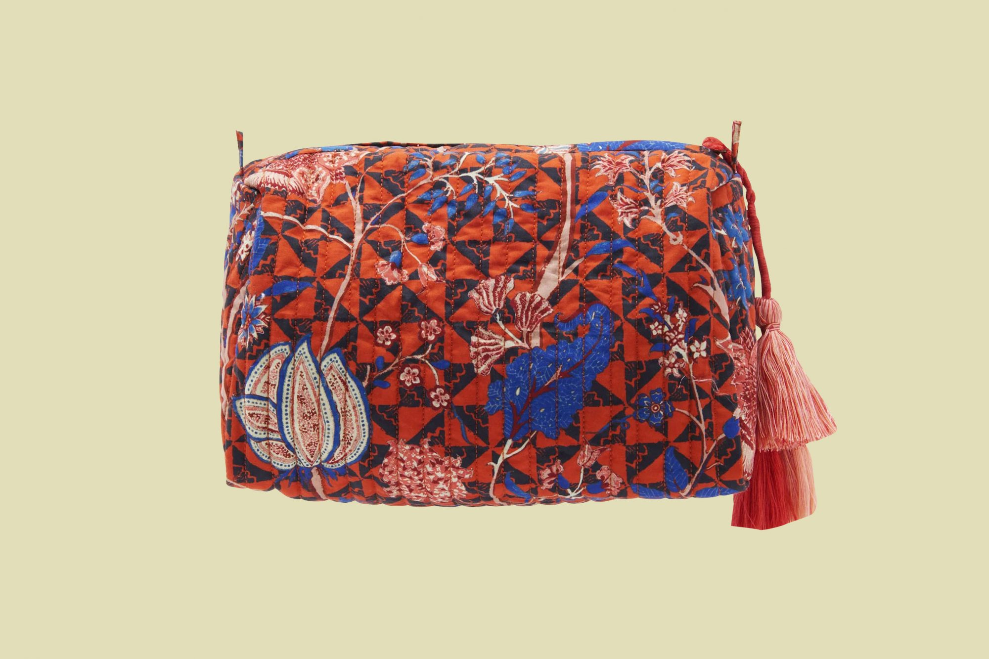 ulla johnson quilted cotton makeup bag