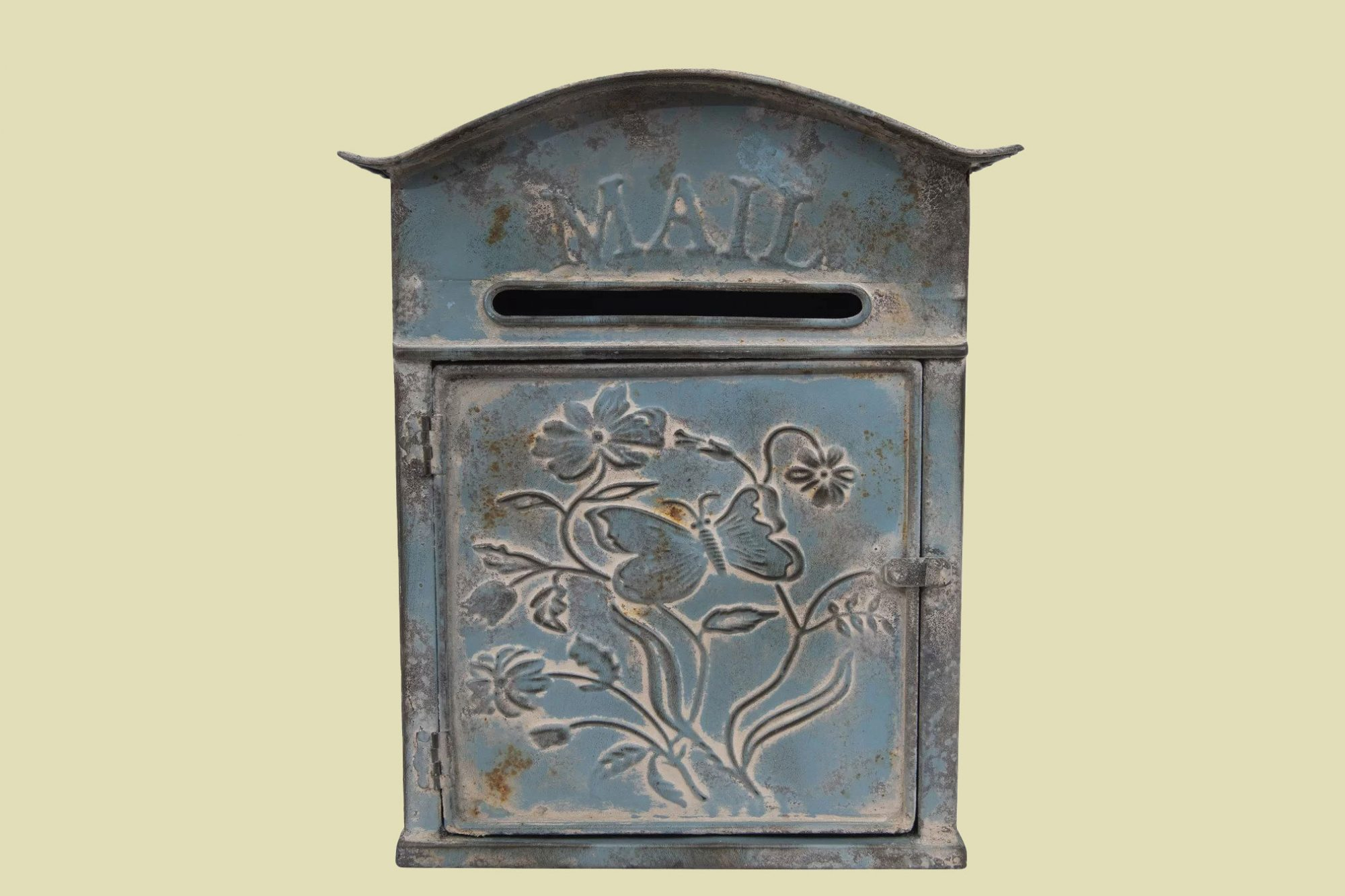 Creative Co-Op Distressed Embossed Tin Wall-Mounted Mailbox