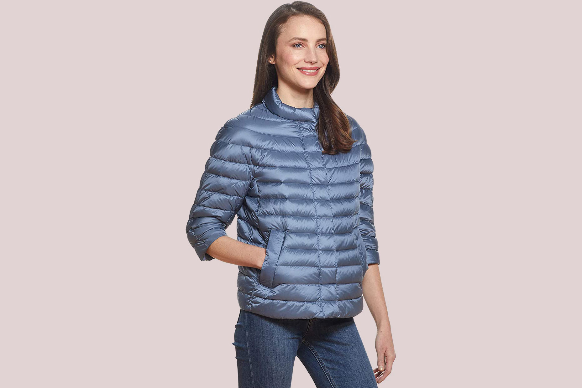 Martha Stewart Women's 3/4 Sleeve Quilted Packable Down Jacket