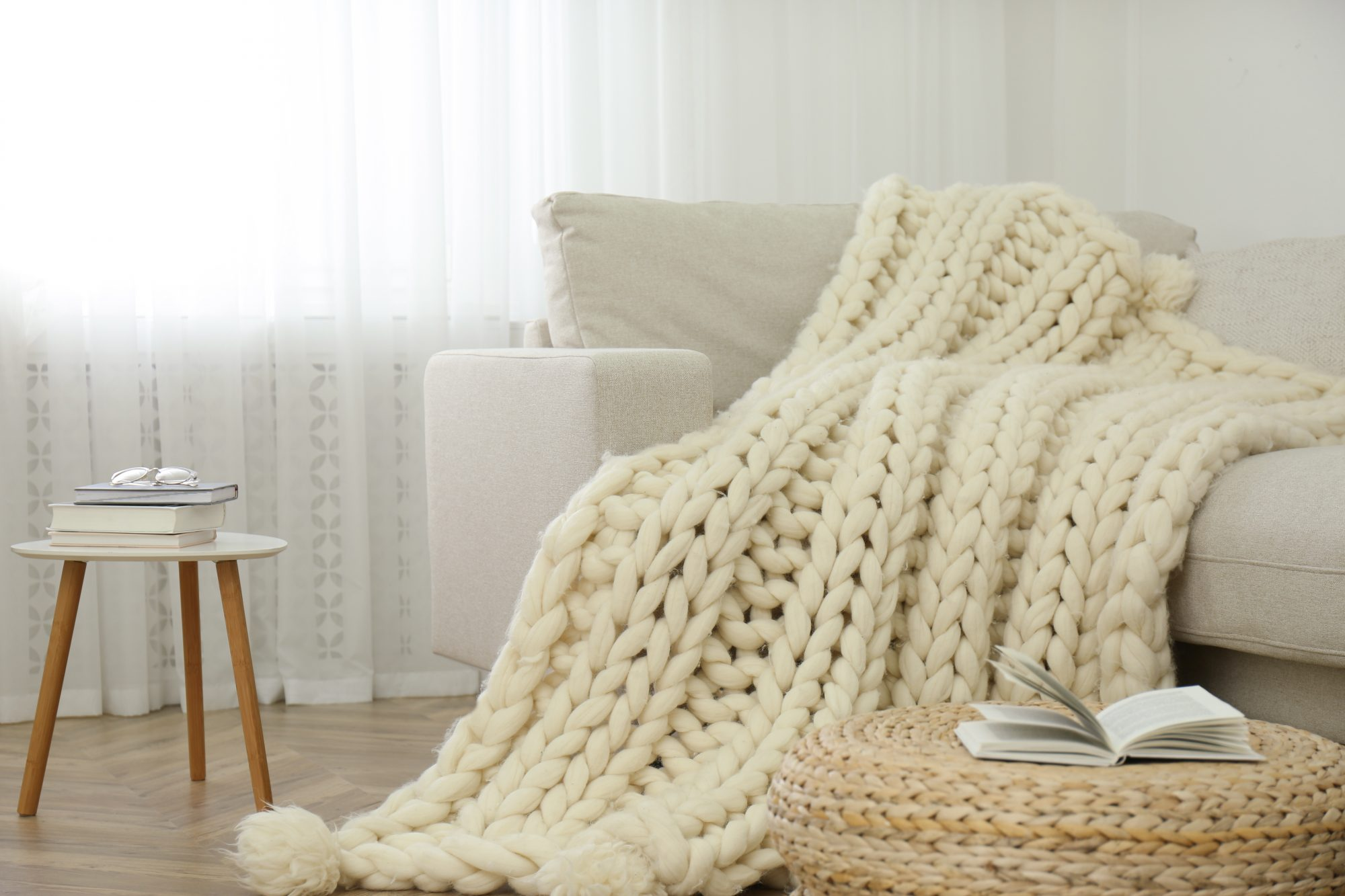 chunky knit blanket over chair