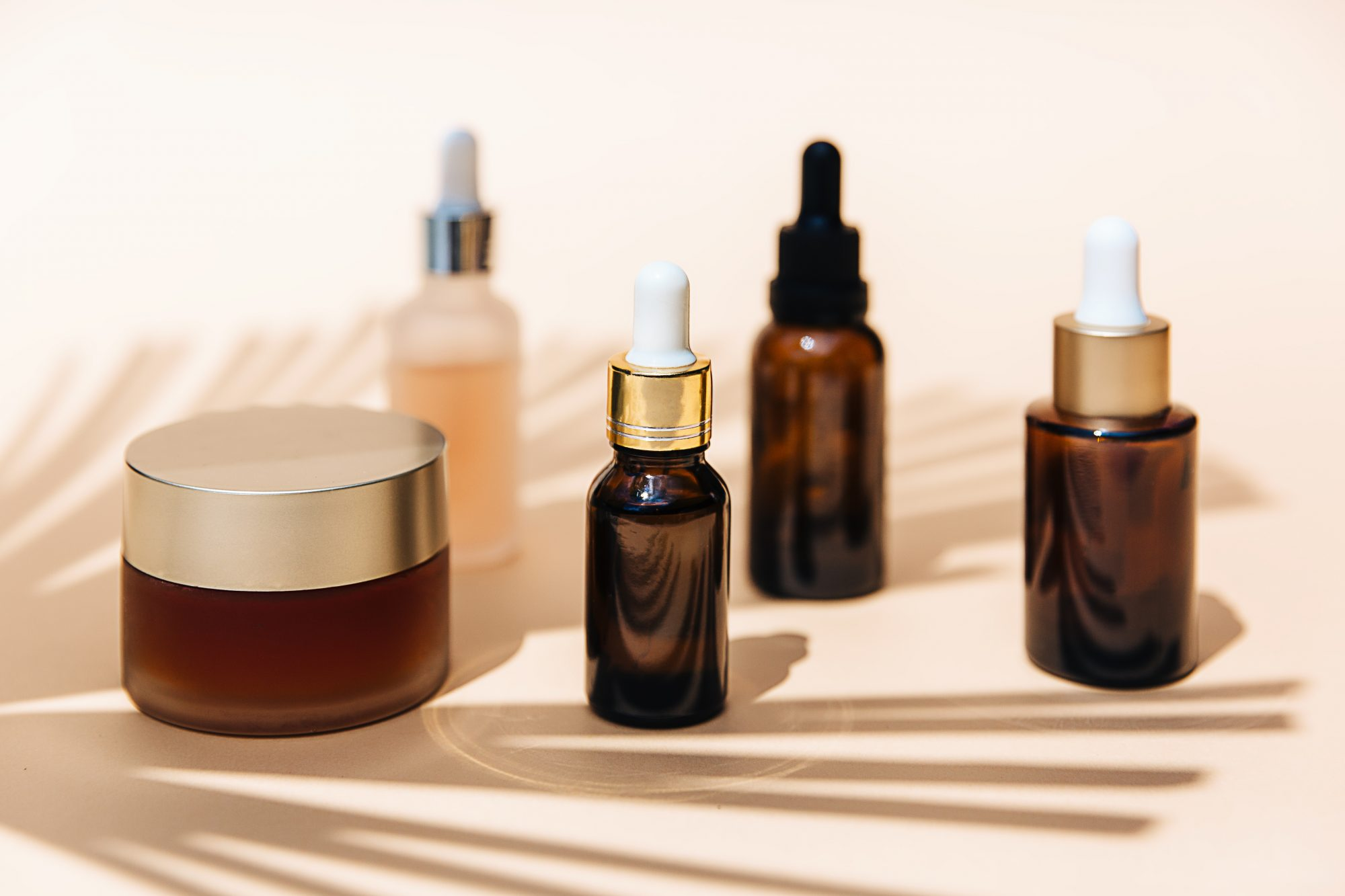 grouping of beauty products shot in studio