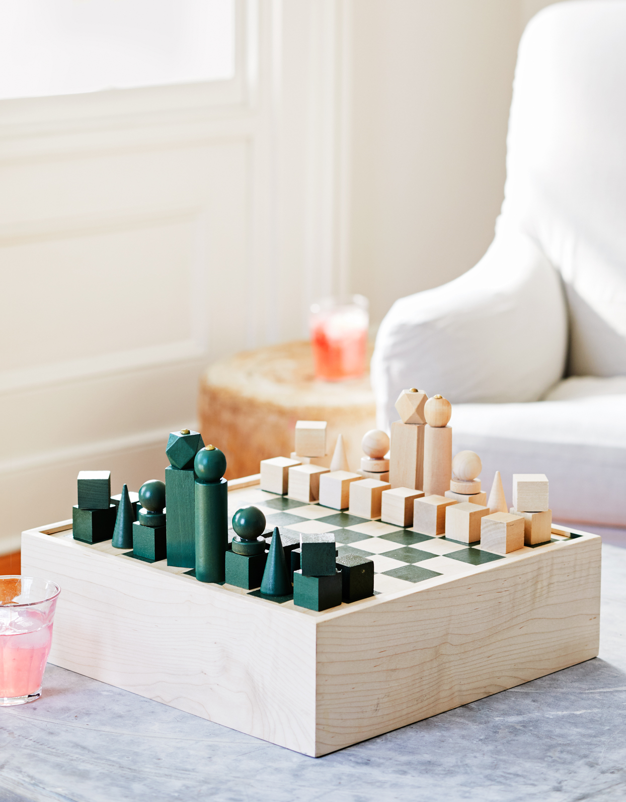 green and natural colored chess set