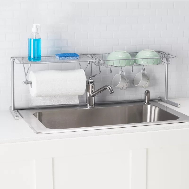 Home Basics Metal over the Sink Dish Rack