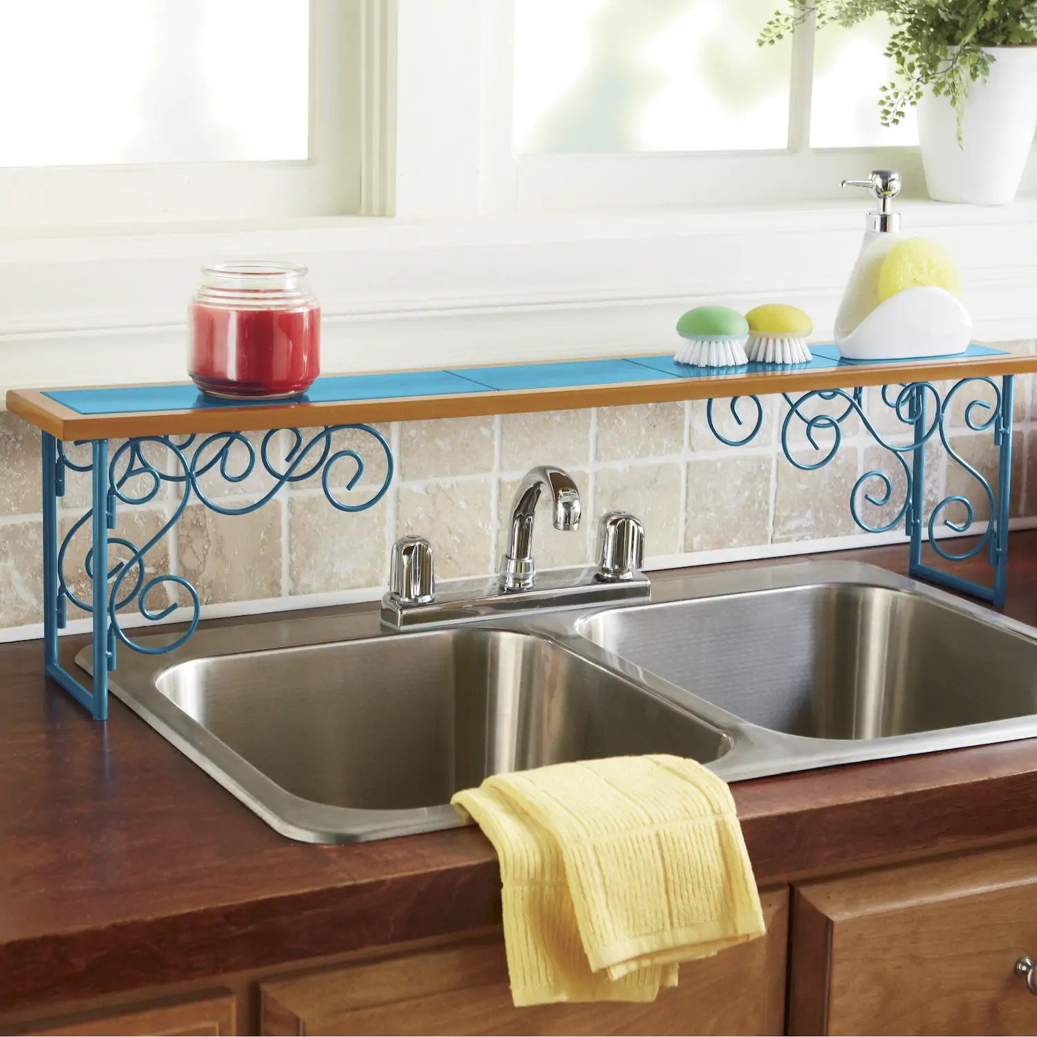 Colorblock Over-the-Sink Shelf, in yellow