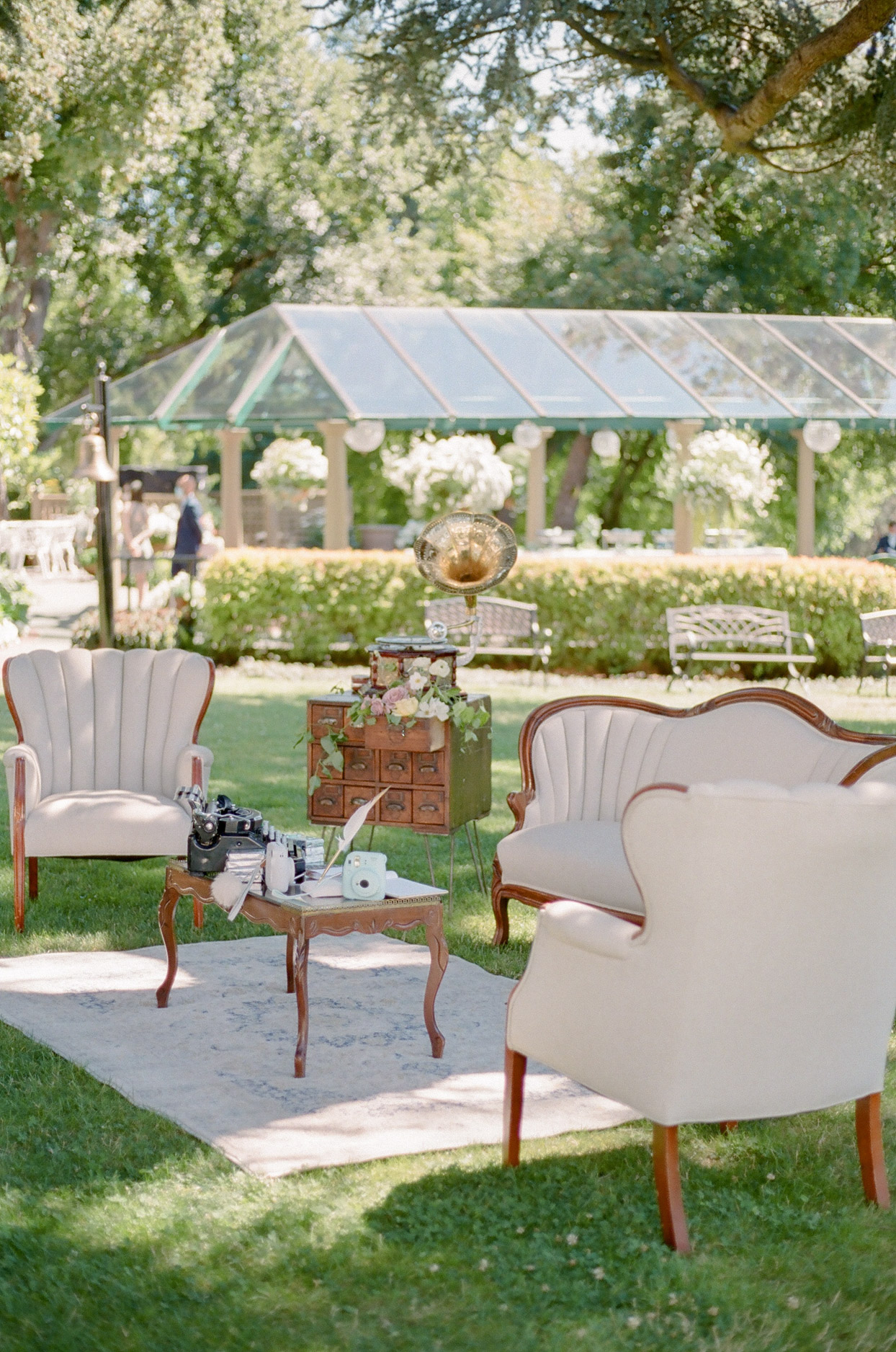 outdoor vintage cream colored lounge furniture