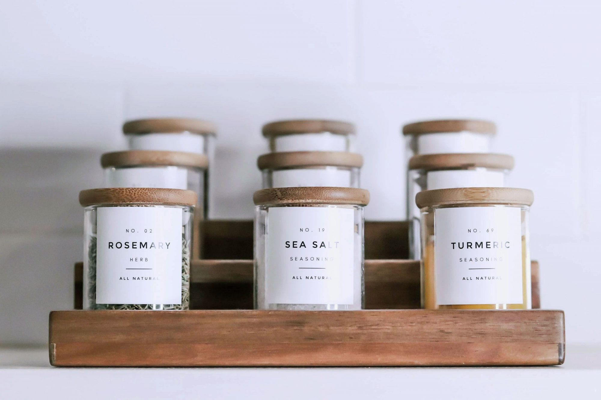 The Muted Home Spice Jars with Wood Lids