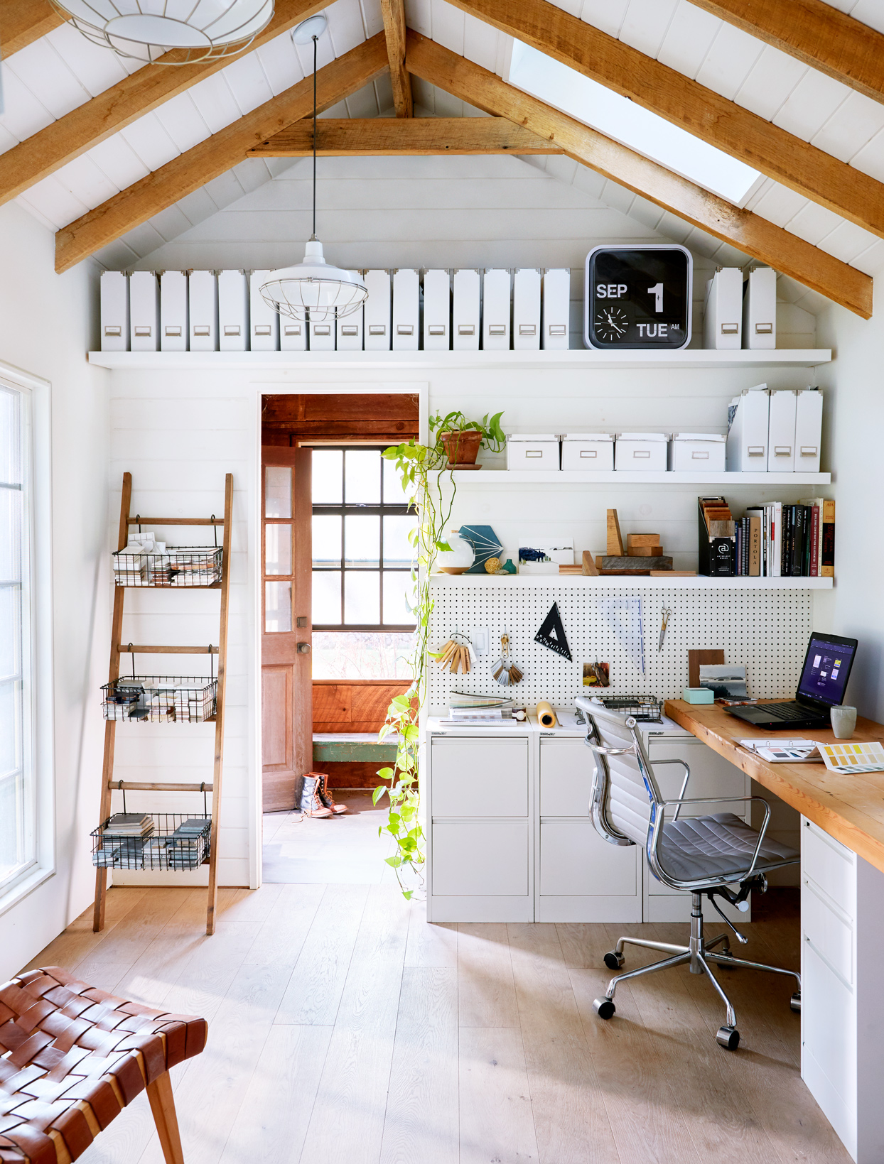 rebuilt barn white and wood home office