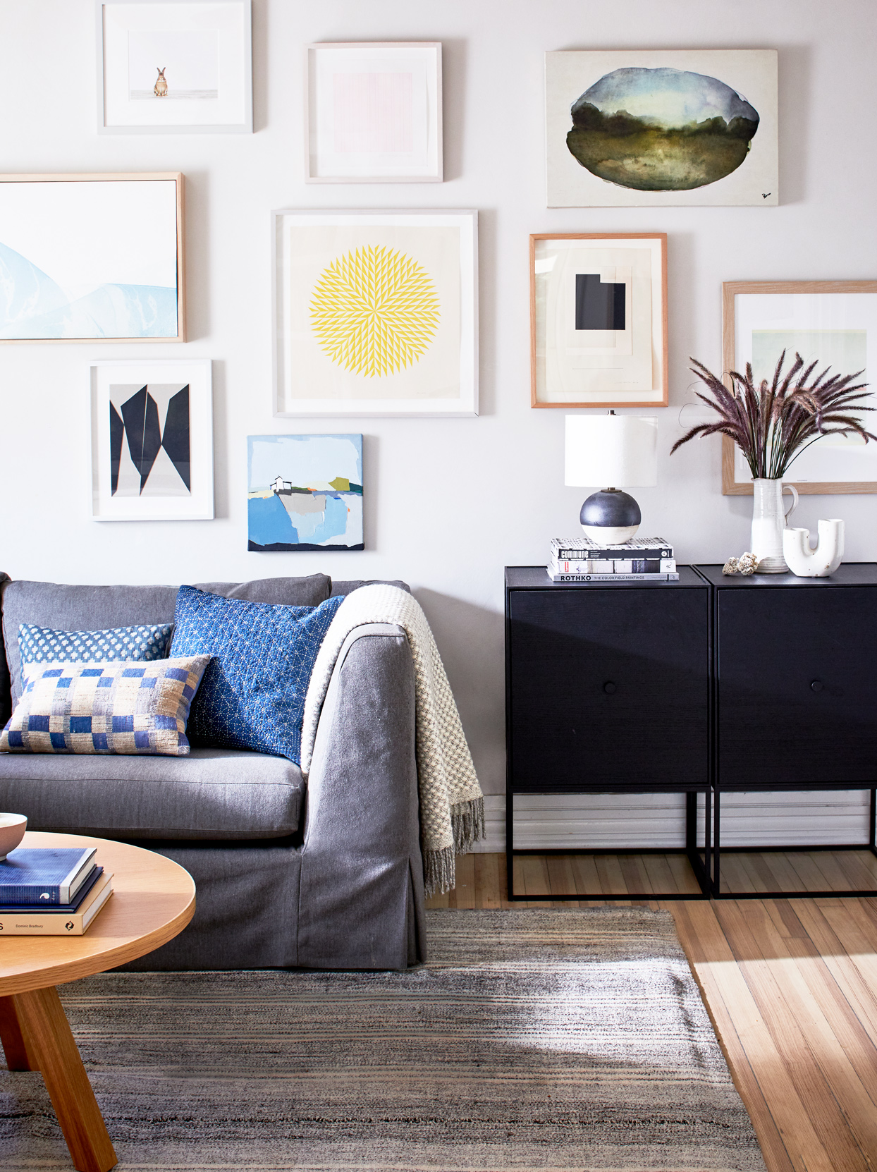 neutral-colored living room with accent gallery wall