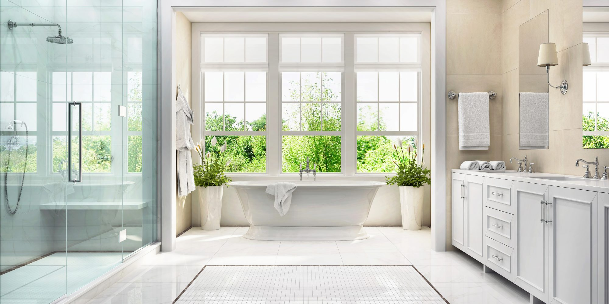 clean white bathroom with windows open
