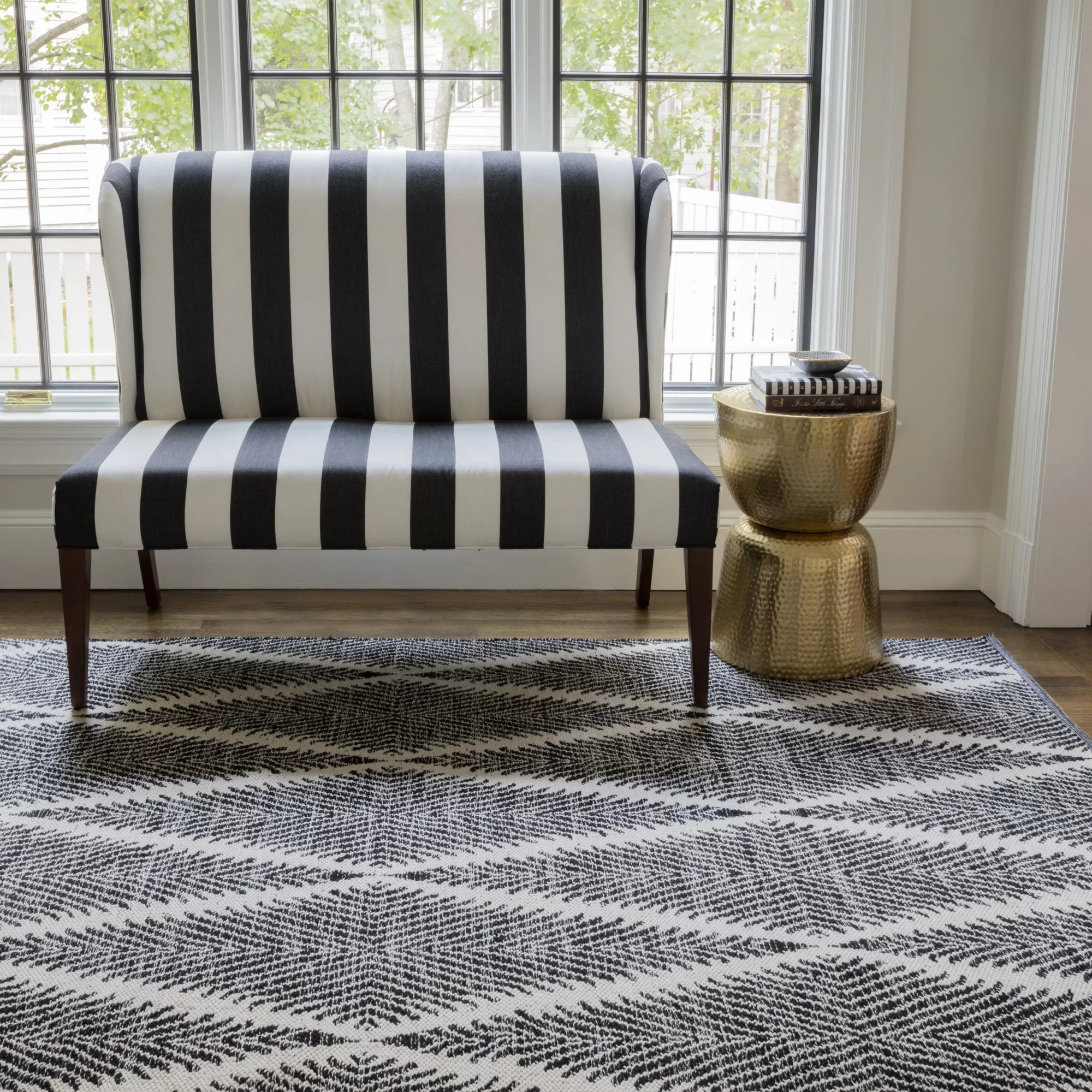 Erin Gates x Momeni River Geometric Indoor/Outdoor Rug in Black and White