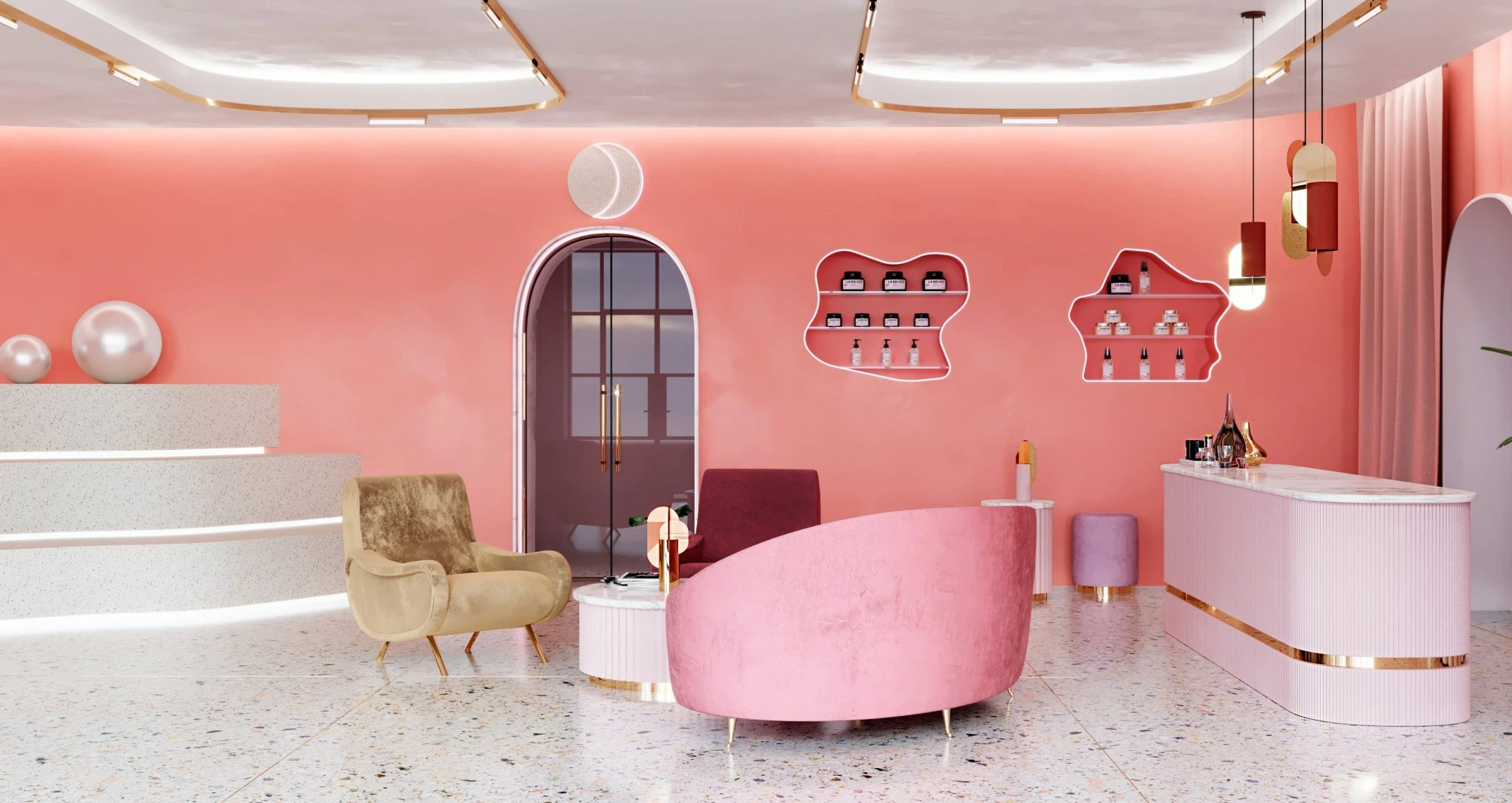 interior space of pink moon store