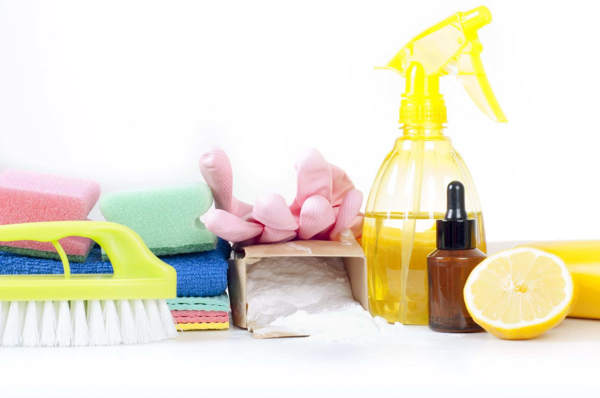 eco-friendly cleaning products on table
