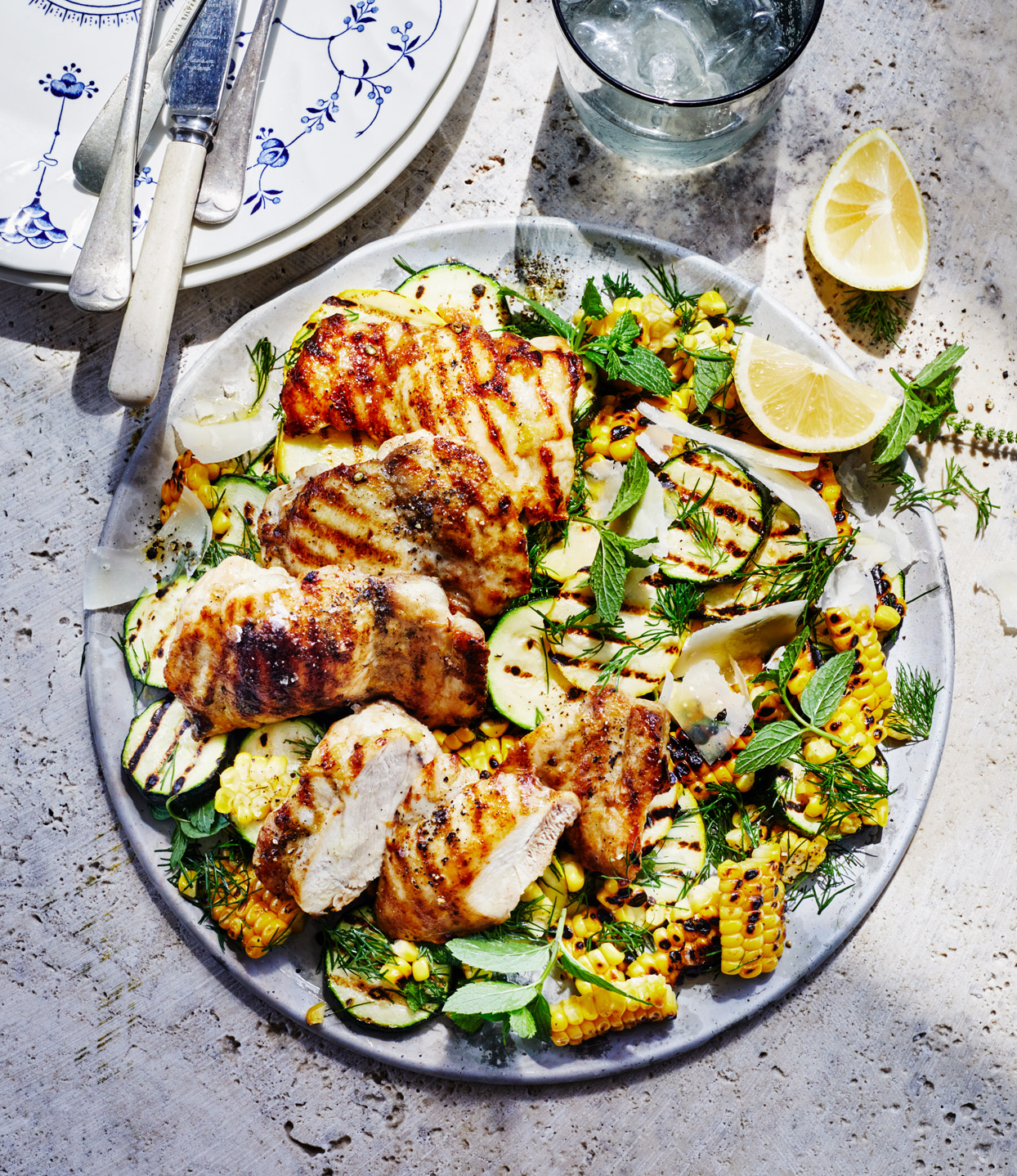 Grilled Chicken Thighs with Charred Corn and Summer Squash