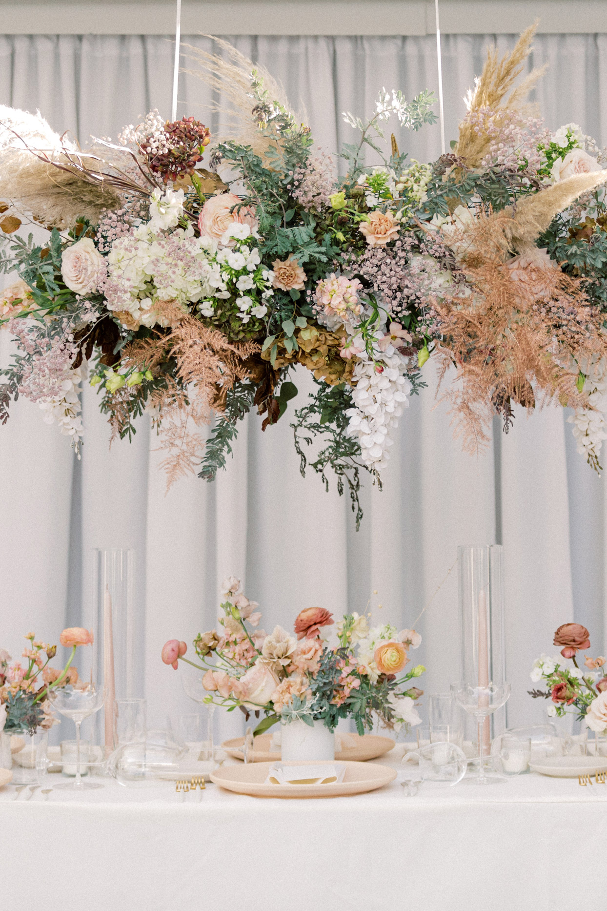 overhead florals at reception table