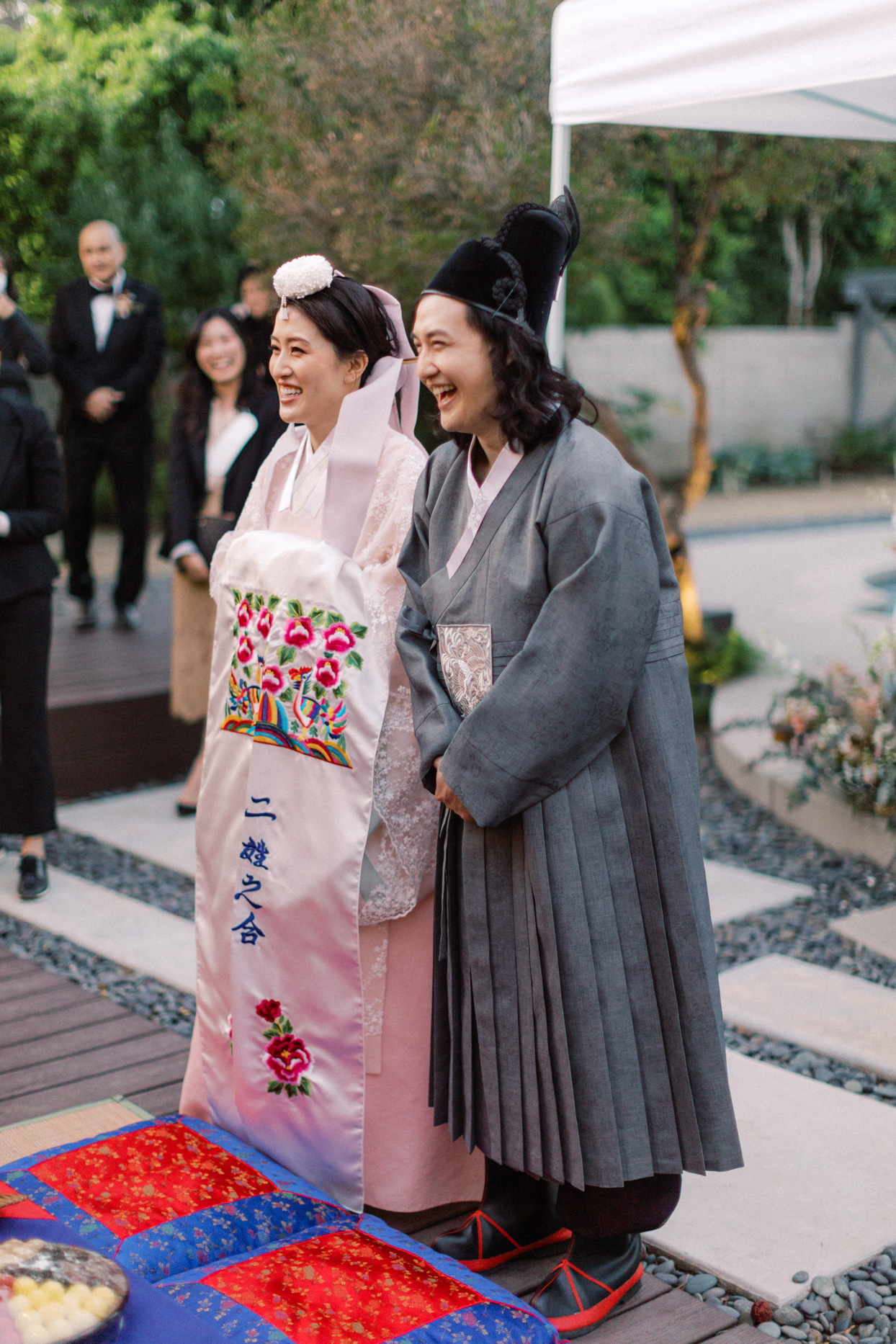 bride and groom in traditional garments for tea ceremony