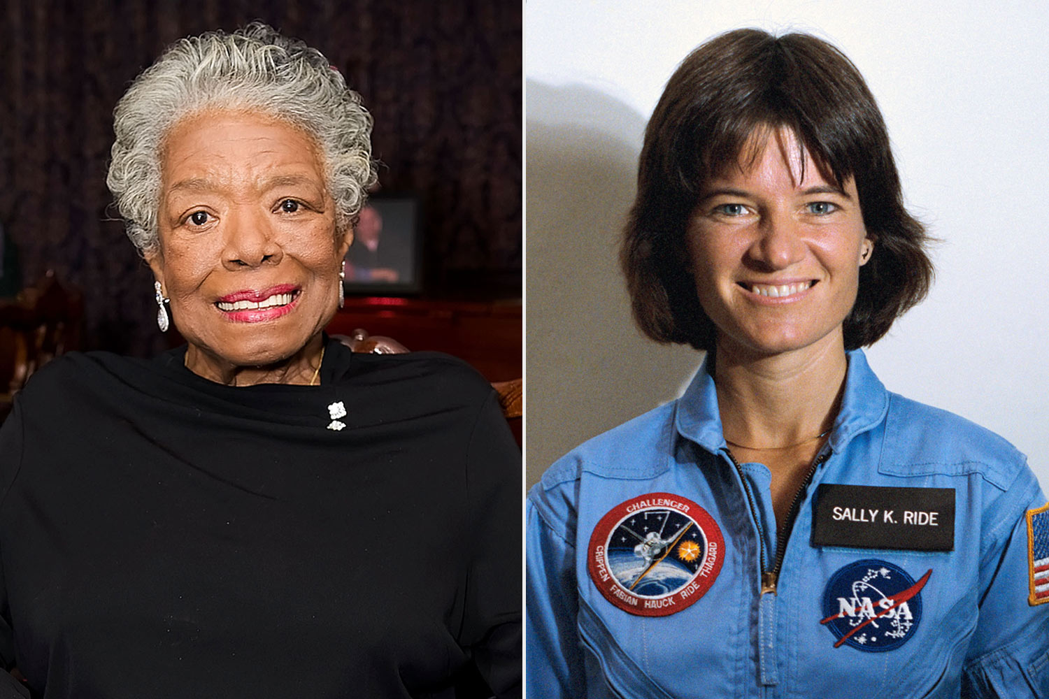 Maya Angelou (left) and Dr. Sally Ride (right)