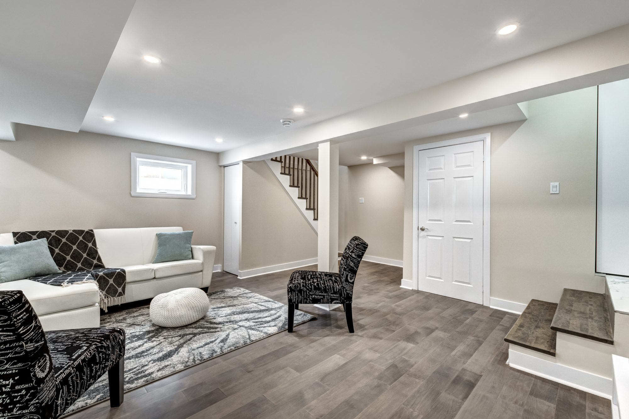 modern luxury renovated basement