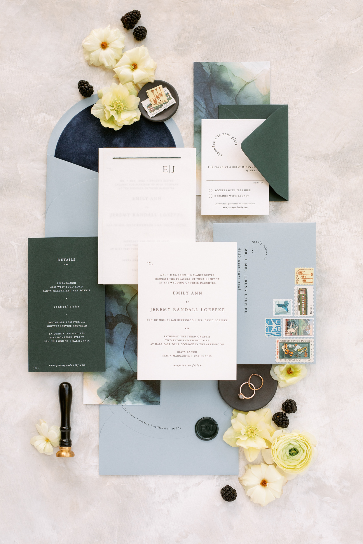 wedding in invitation suite with blue and green hues