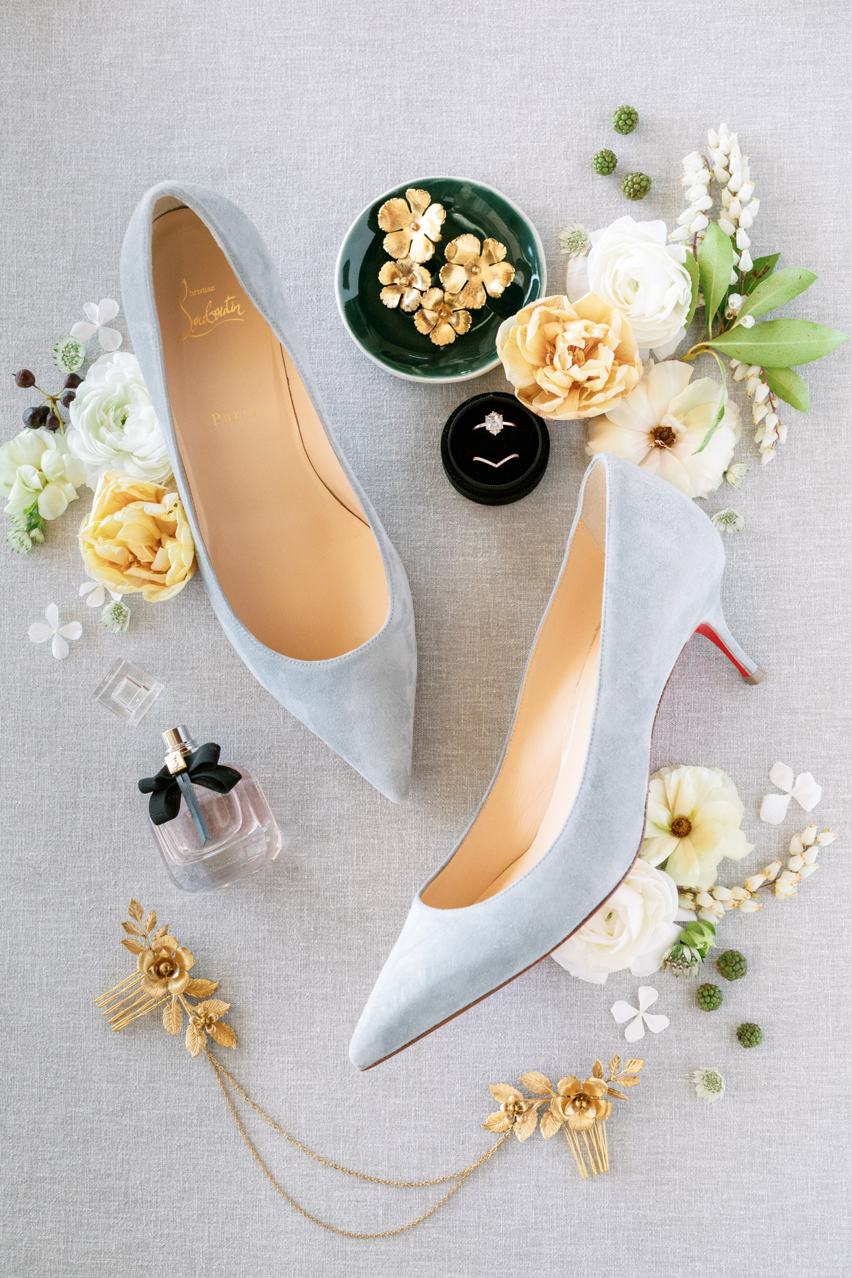 Bride's wedding day accessories and shoes
