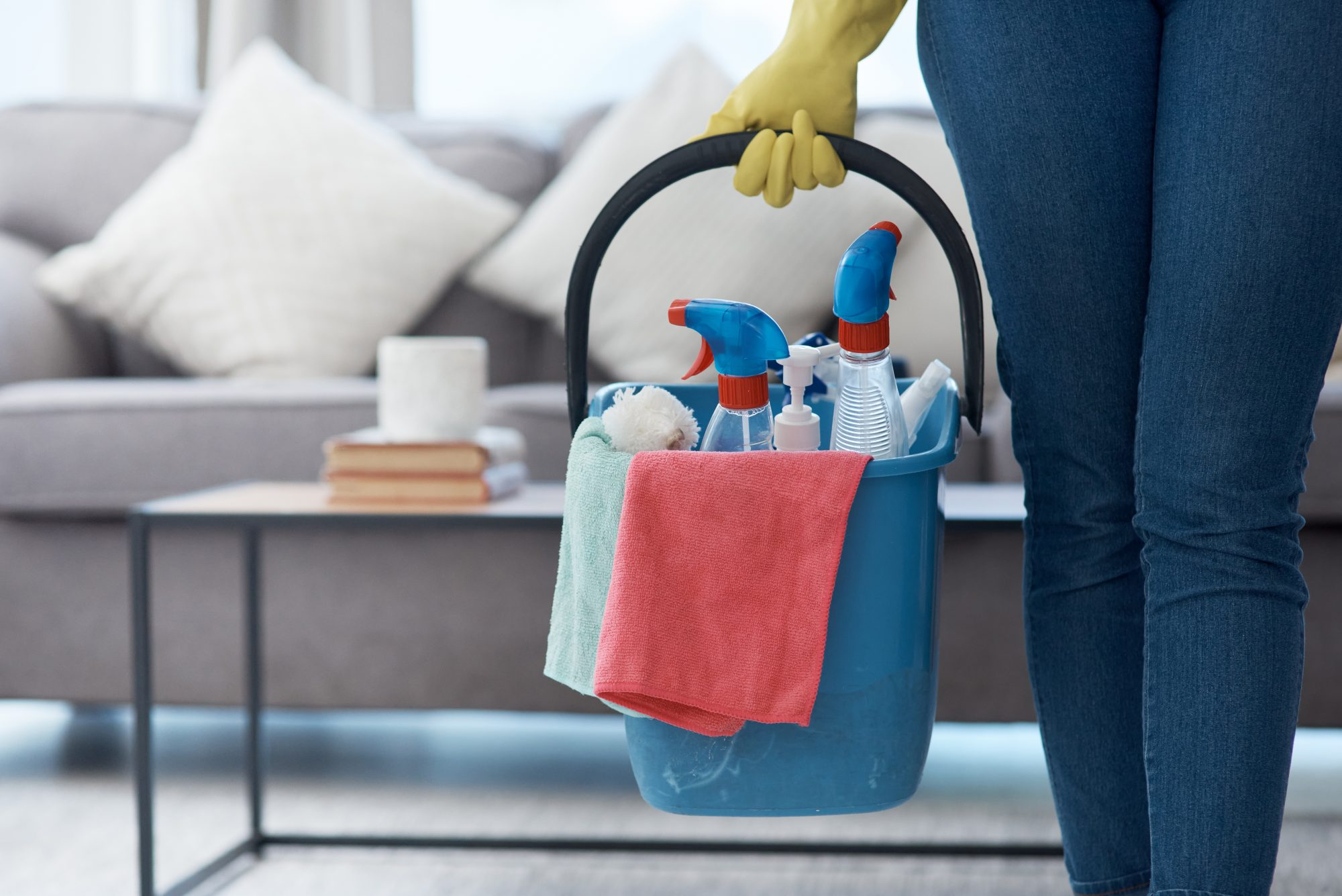 carrying bucket of cleaning products