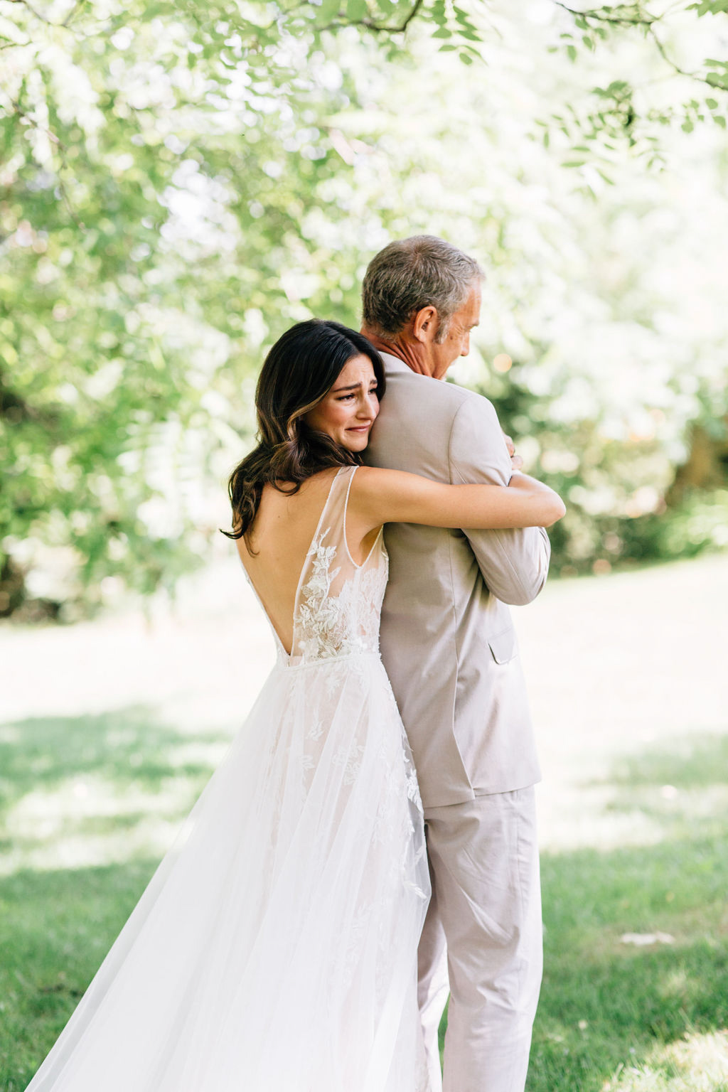 bride with father for first look