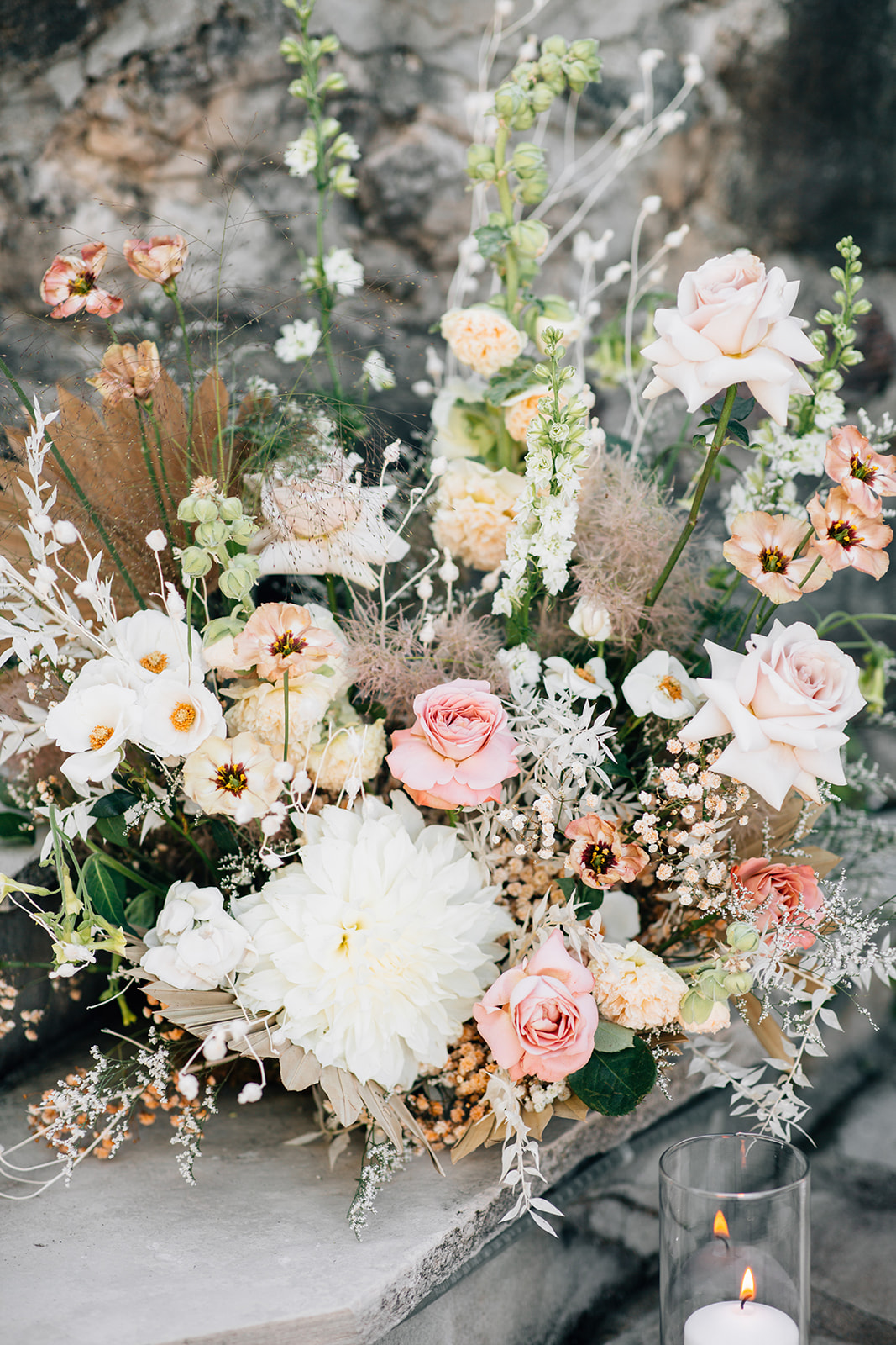 white and pink floral decor
