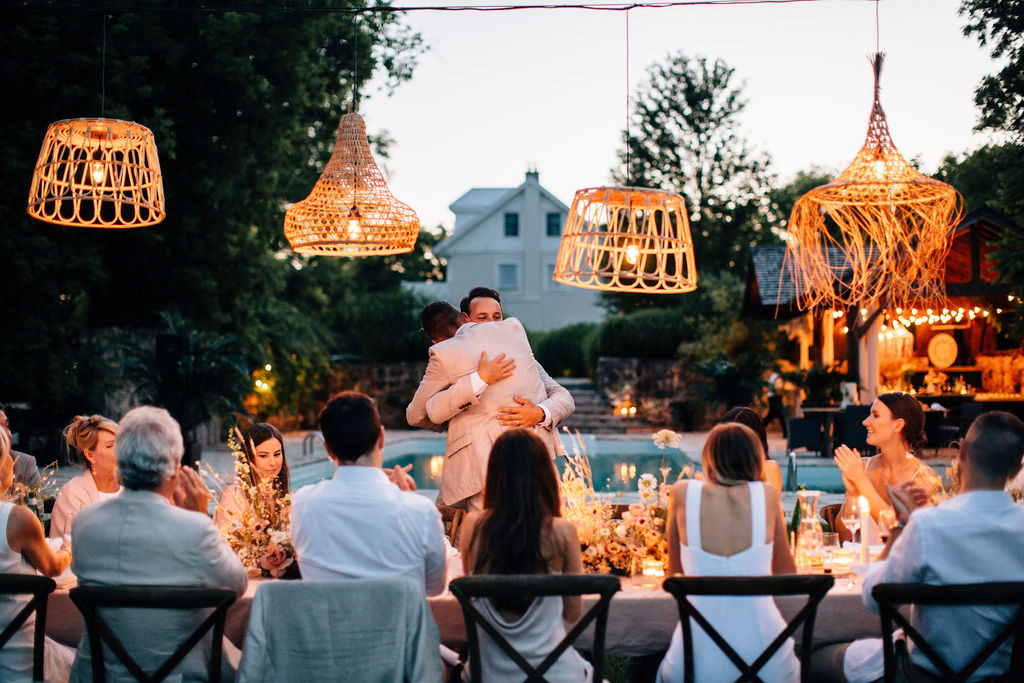 wedding guests sitting at table during reception