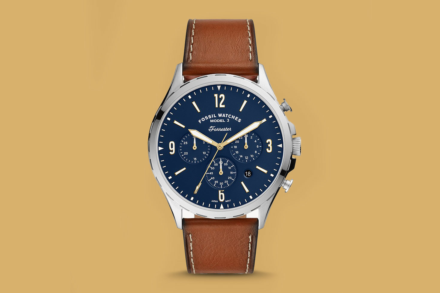 FOSSIL Forrester Chronograph Luggage Leather Strap Watch