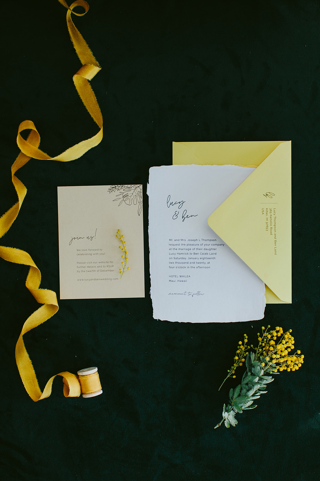 simple scripted wedding invitations in white and yellow