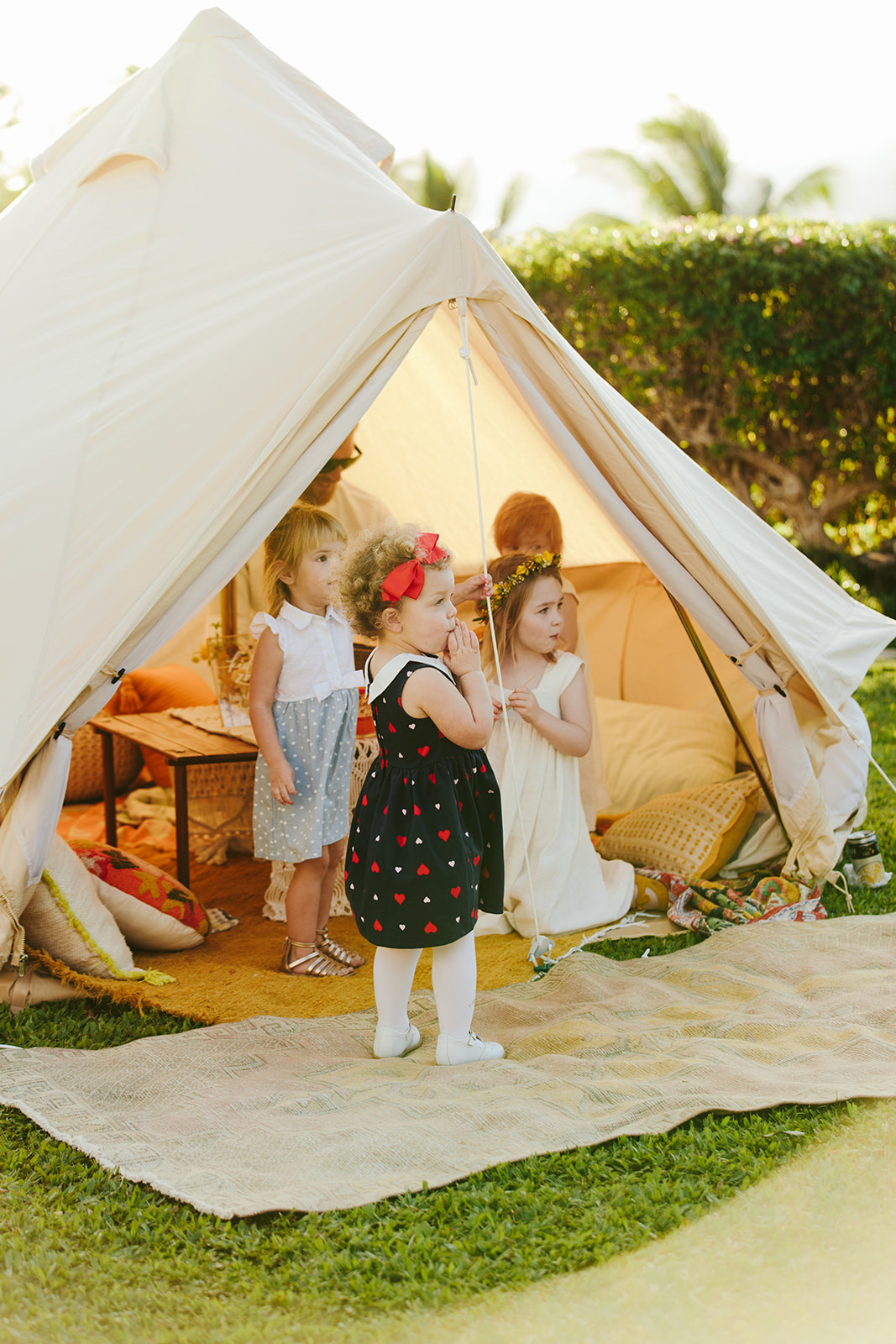 kids playing in wedding tent