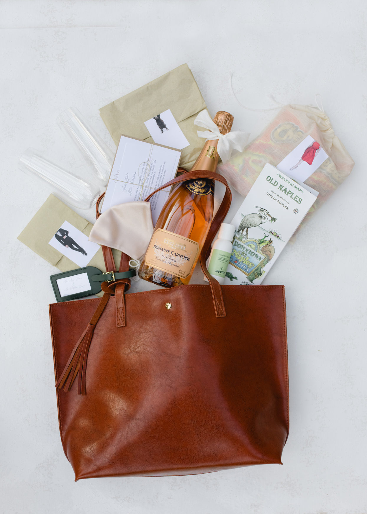 leather welcome bag with wedding favors