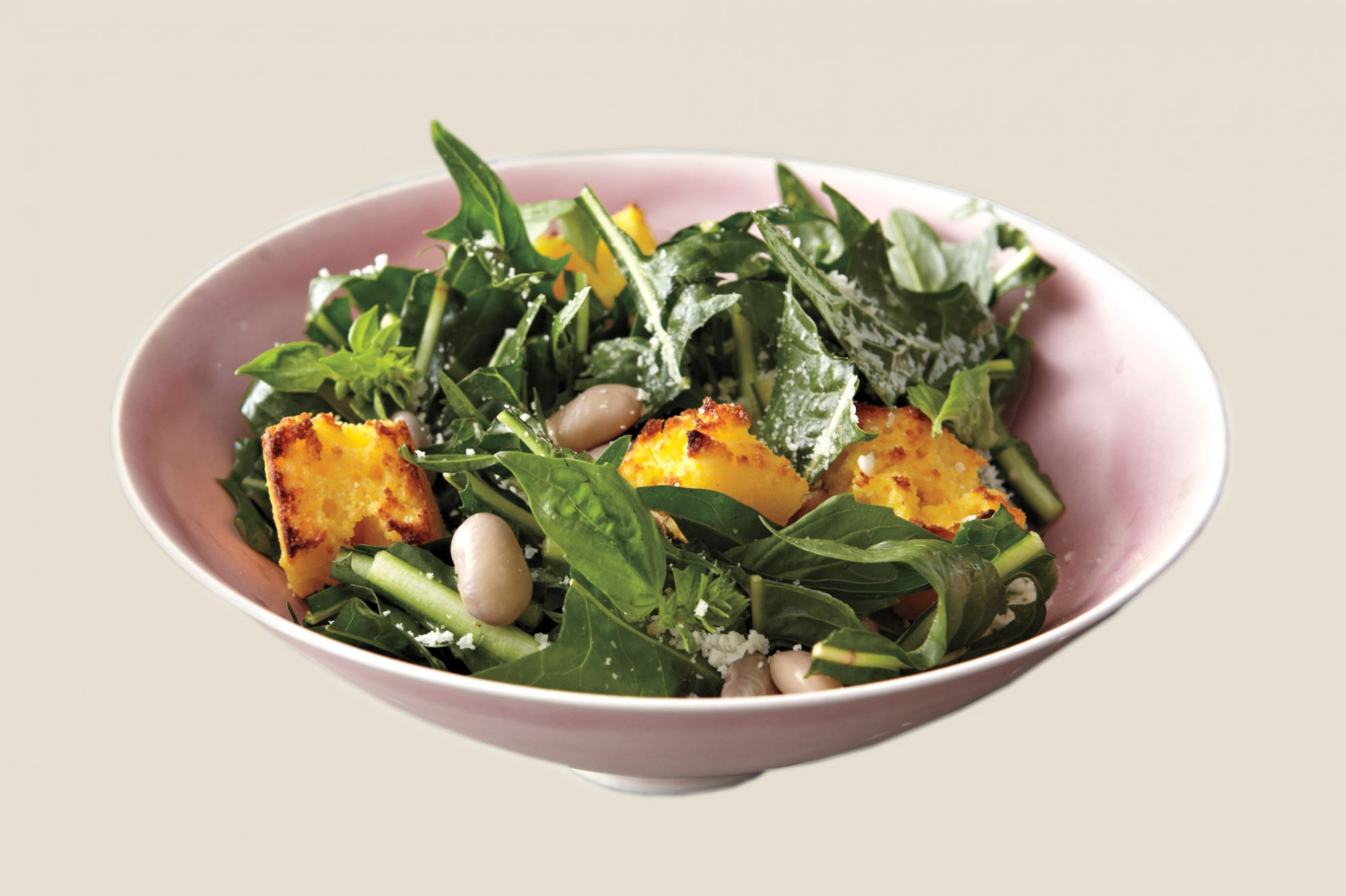 Cranberry Bean, Dandelion Green, and Toasted-Cornbread Salad