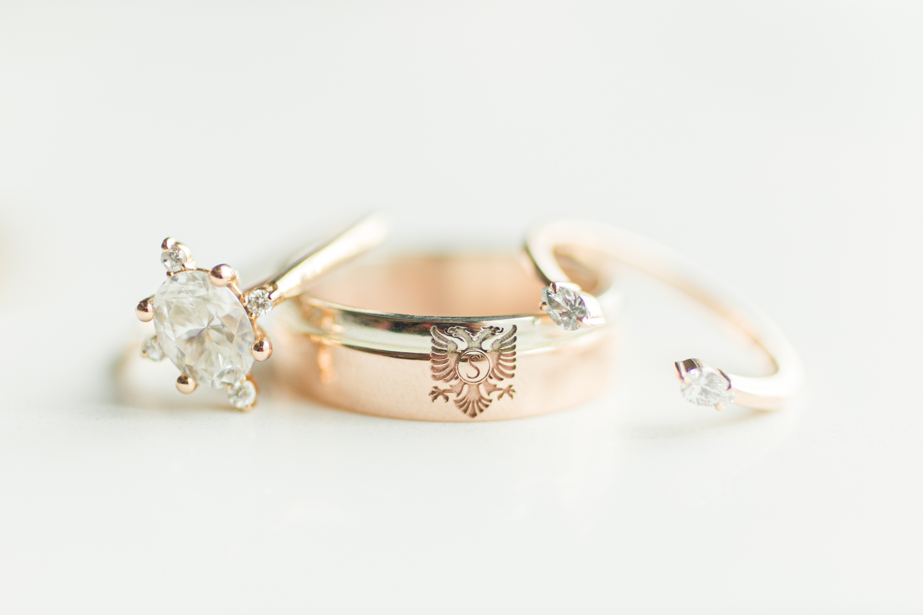 gold wedding bands and diamond rings