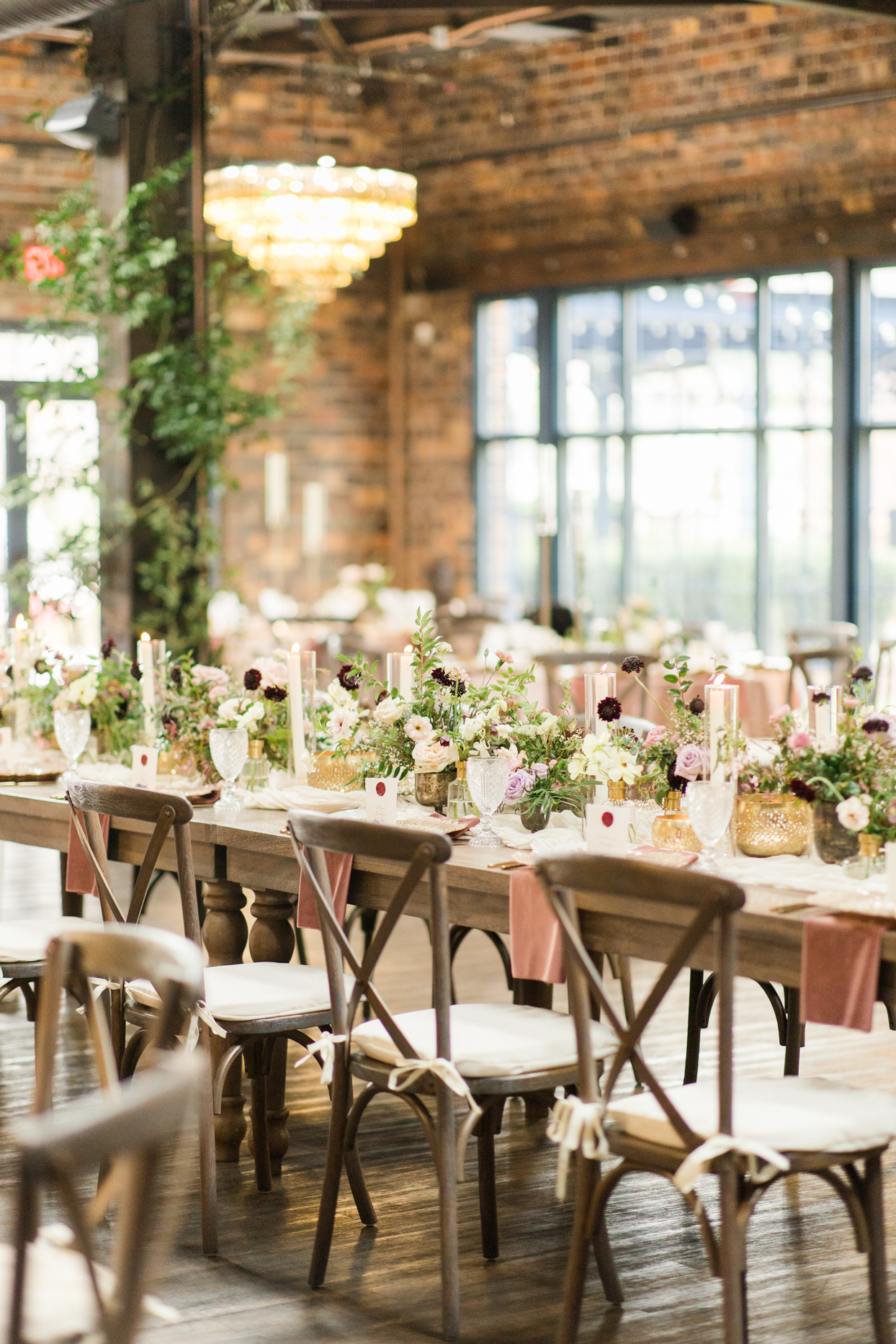 long wooden table for wedding reception