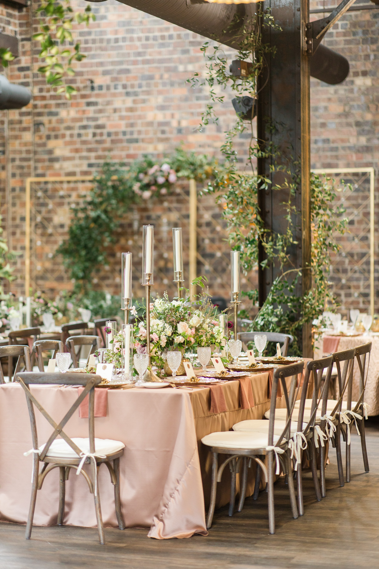 wedding reception table with mauve cloth
